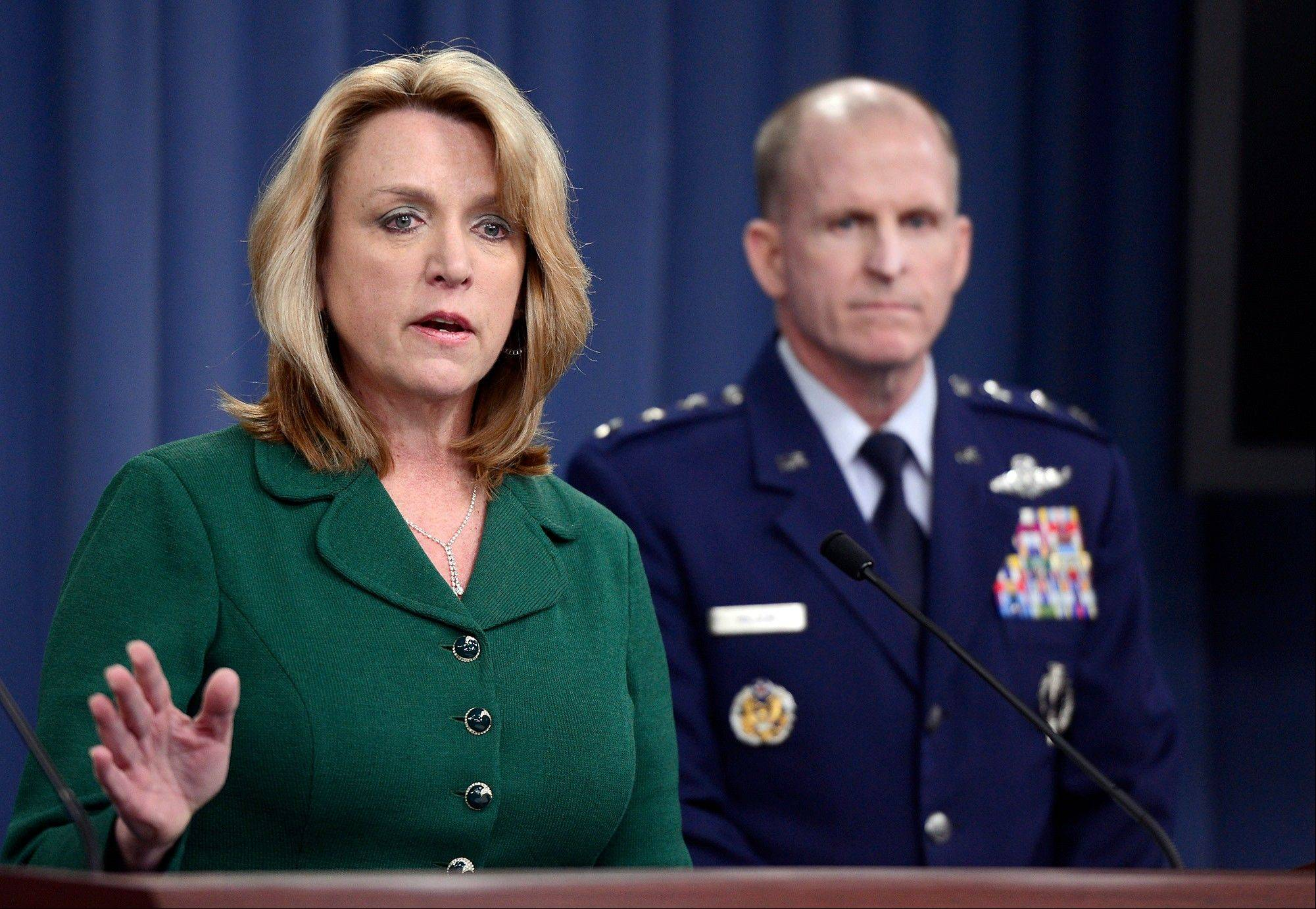Air Force Secretary Deborah Lee James and Lt. Gen. Stephen Wilson, who heads Global Strike Command hold a news conference at the Pentagon, Thursday, Jan. 30, 2014 in Washington. James said Thursday that at Malmstrom Air Force Base in Montana, roughly half of the 183 missile launch officers have been implicated in the cheating.