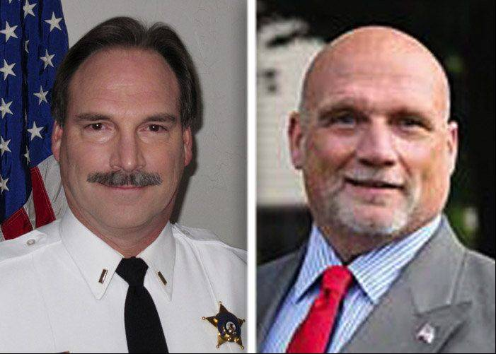 Donald Kramer, left, and Kevin Williams, right, are candidates in the race for Kane County sheriff in the 2014 primary election.