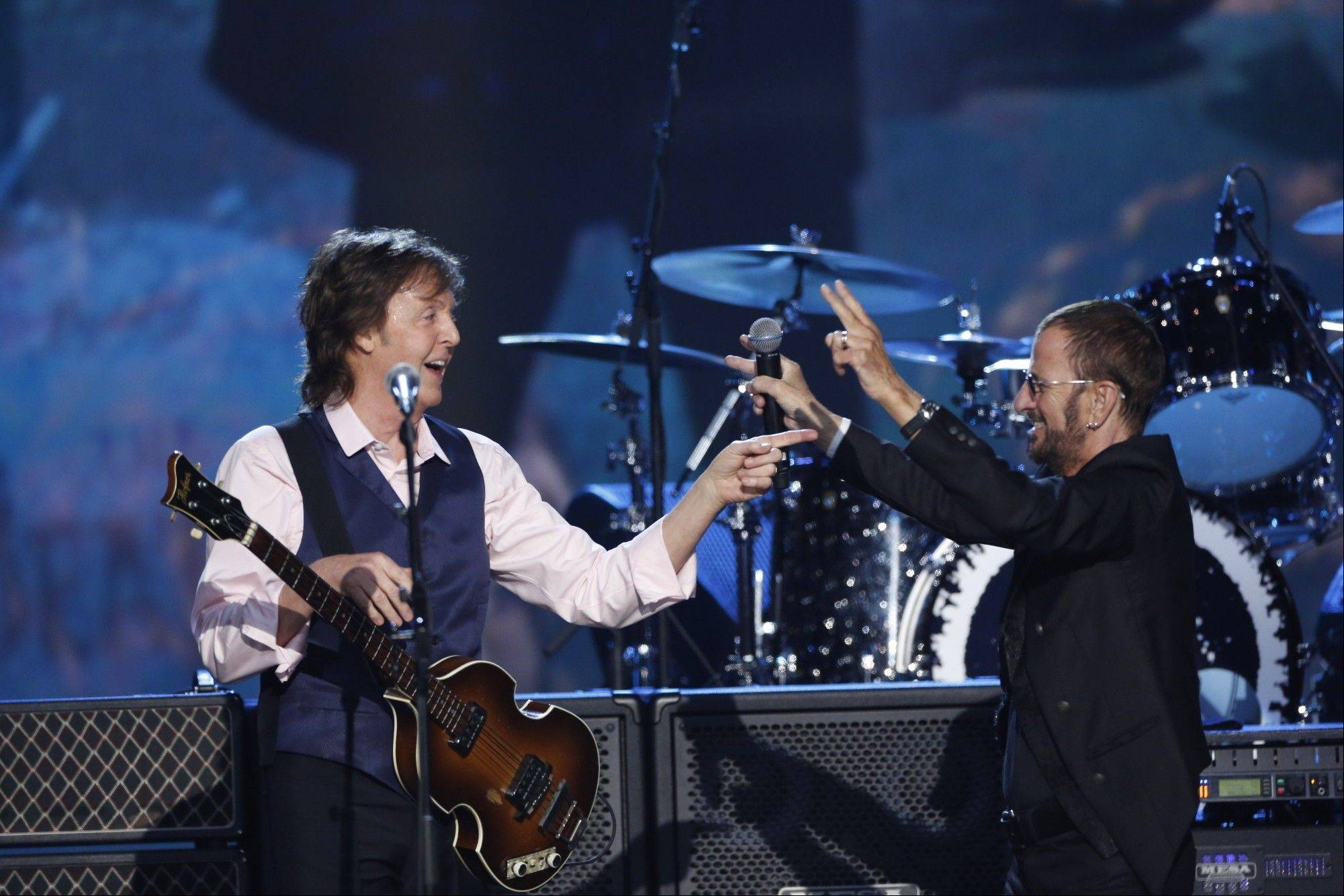 "Paul McCartney and Ringo Starr reunited for ""The Night That Changed America: A Grammy Salute To The Beatles."" The special airs 7 p.m. Sunday, Feb. 9, on CBS and will be shown as part of an event at the Arcada Theatre in St. Charles."