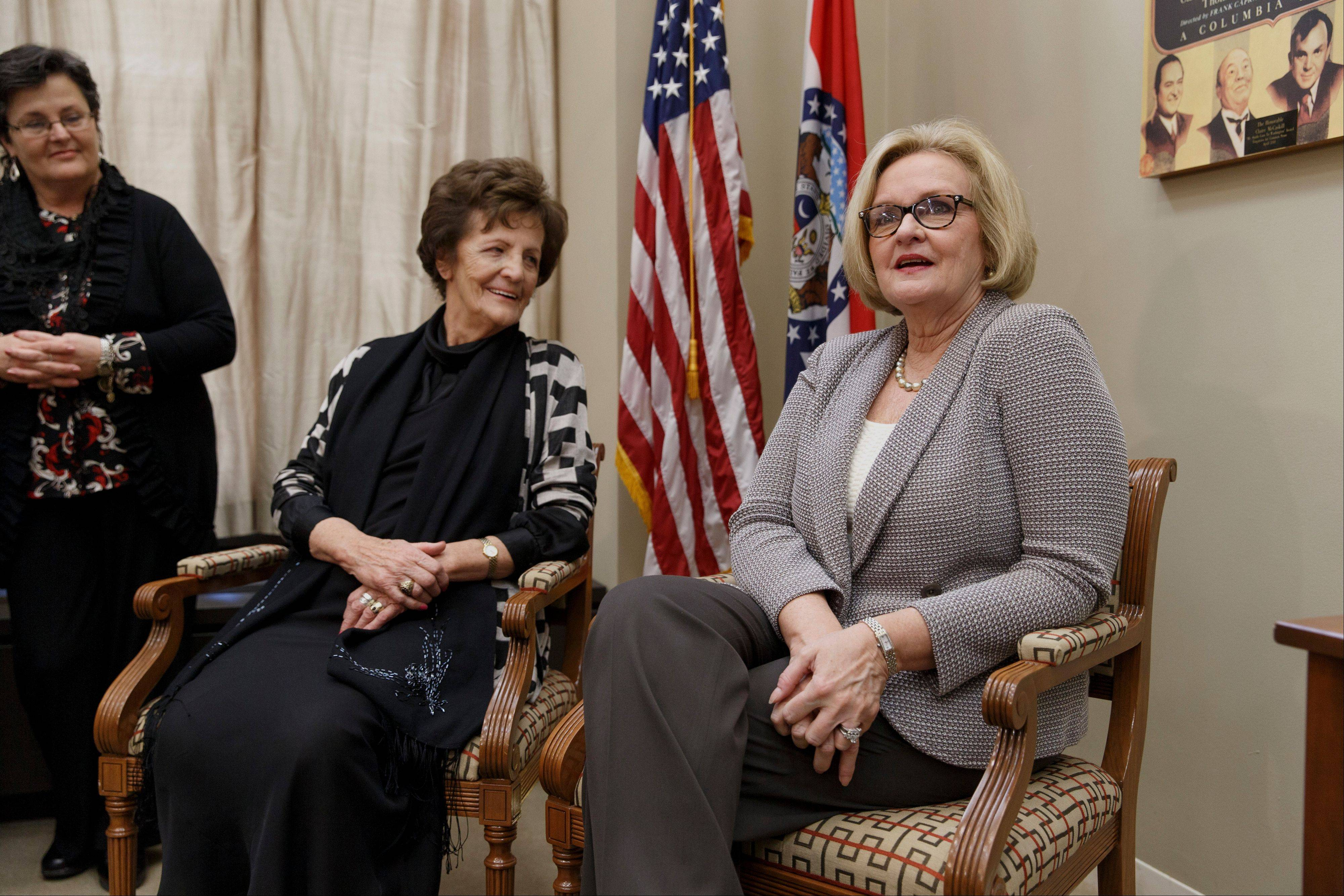 With her life story now the subject of an Oscar-nominated film, Philomena Lee is calling for government reforms in Ireland that would grant adopted people access to their adoption files. She met with Sen. Claire McCaskill, D-Mo., right, on Capitol Hill in Washington Thursday.