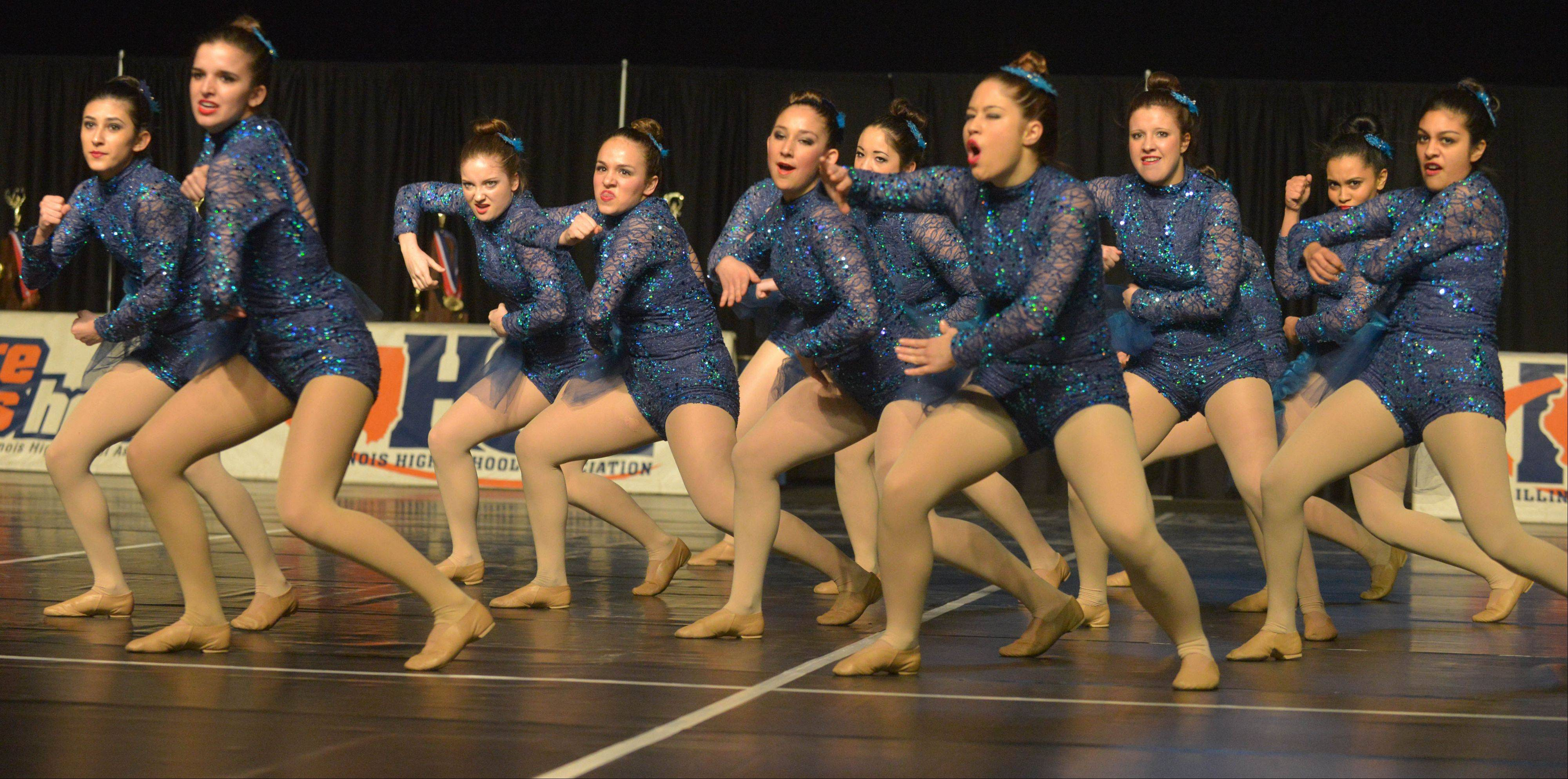 The Aurora Central Catholic High School team performs in Friday's preliminaries.