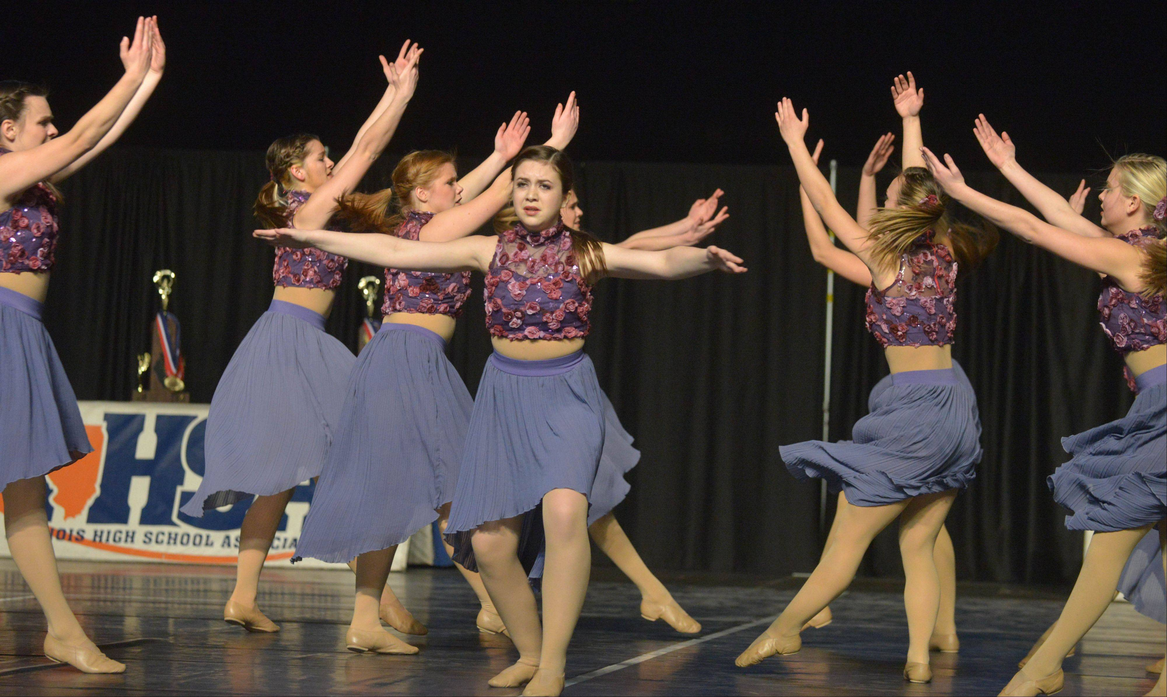 The St. Charles East High School dance team performs Friday.