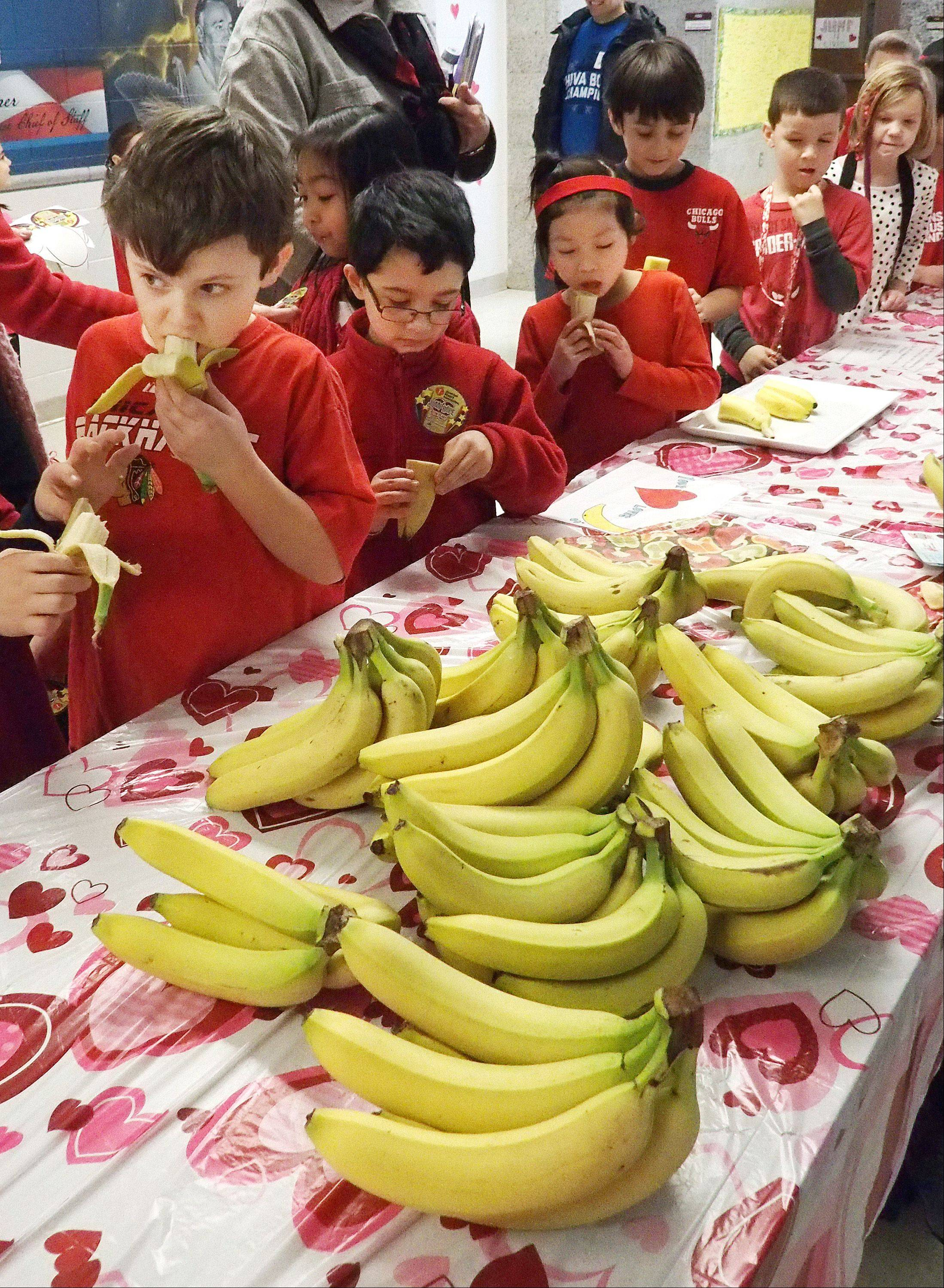 After the kids were finished jumping around, they were treated to bananas provided by Trader Joe's in Glen Ellyn to help rebuild their energy.