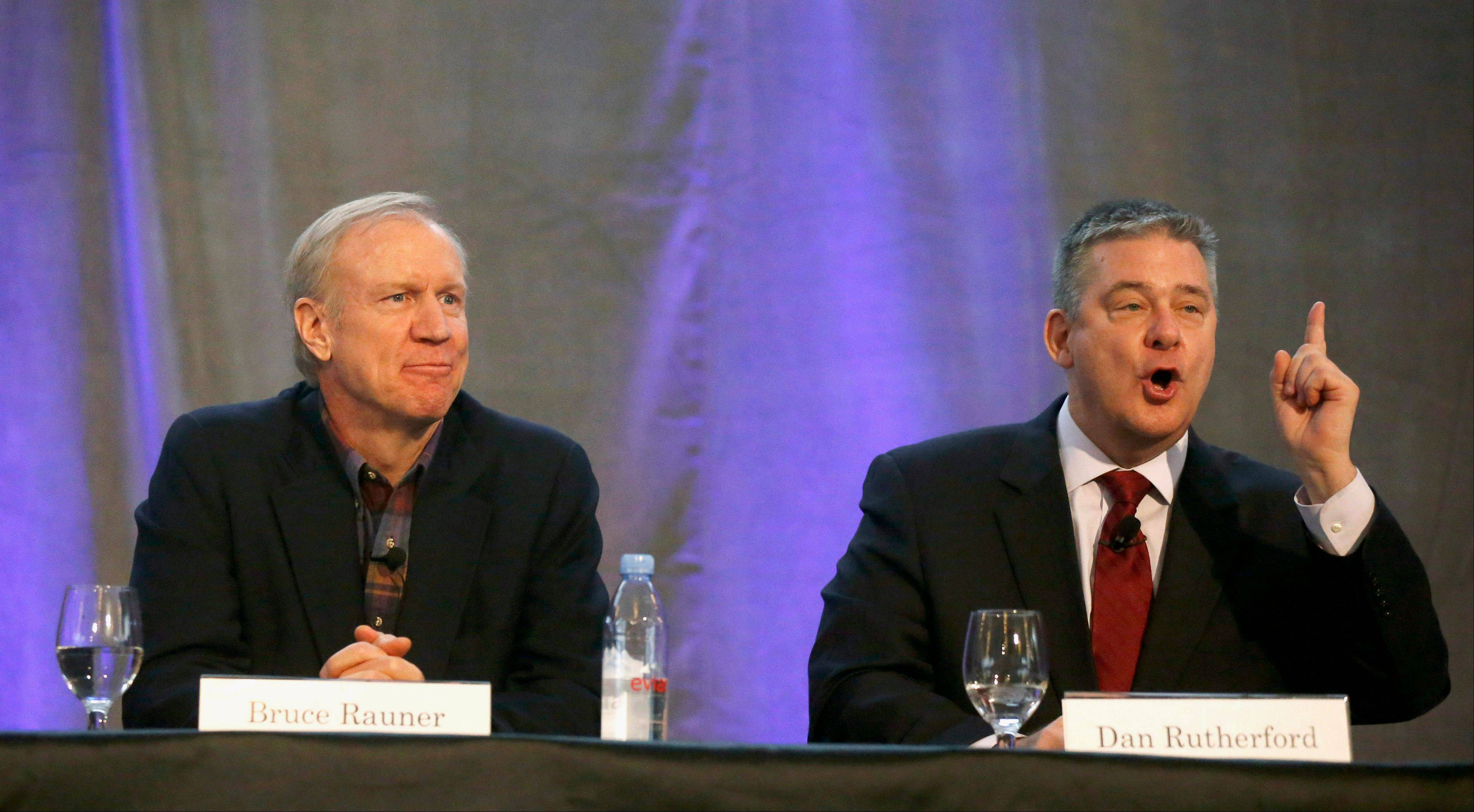 Businessman Bruce Rauner, left, and state Treasurer Dan Rutherford participate in a forum earlier this month in Mount Prospect.