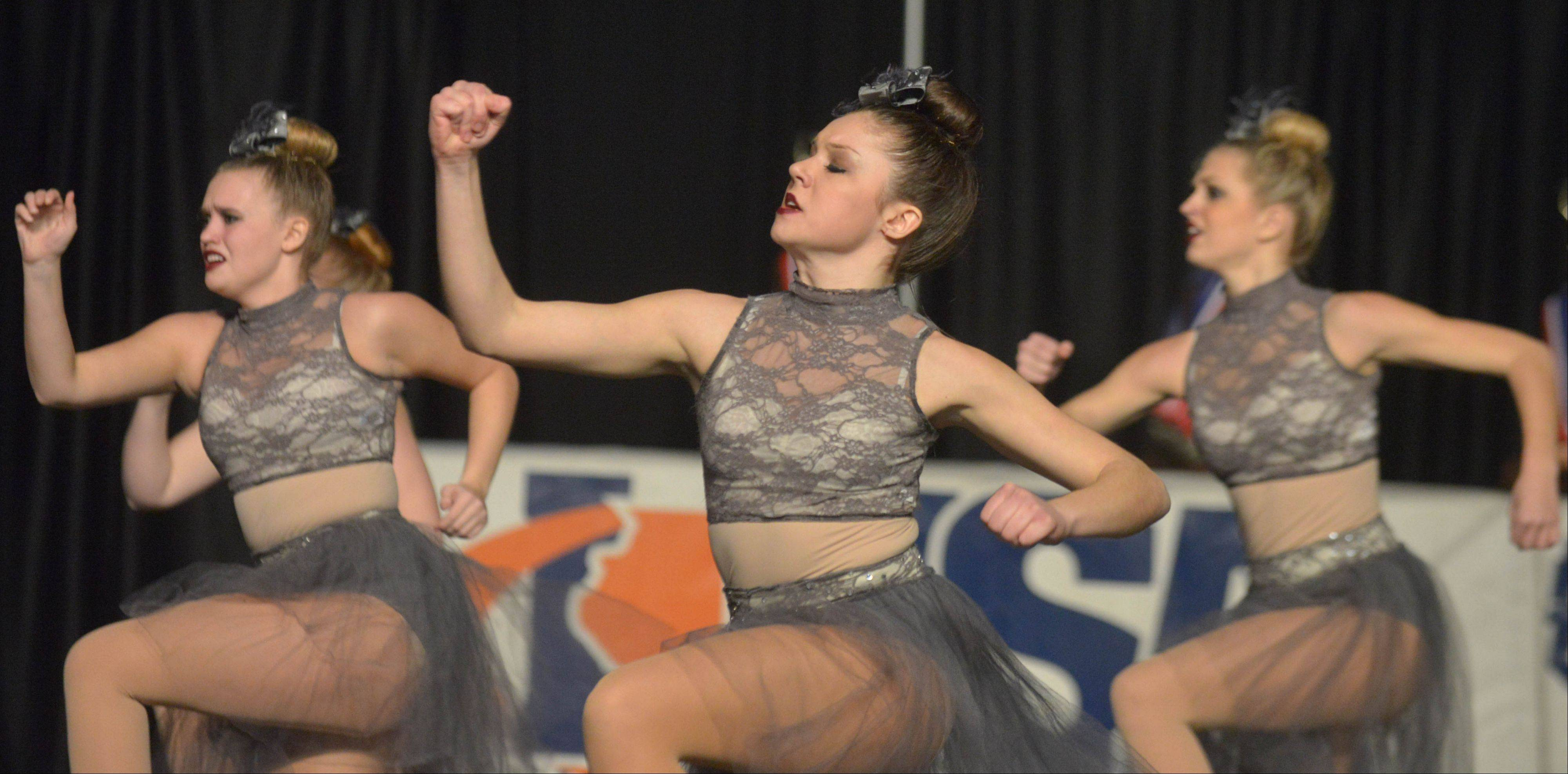 The South Elgin dance team takes part in the Competitive Dance preliminary round Friday at U.S. Cellular Coliseum in Bloomington.