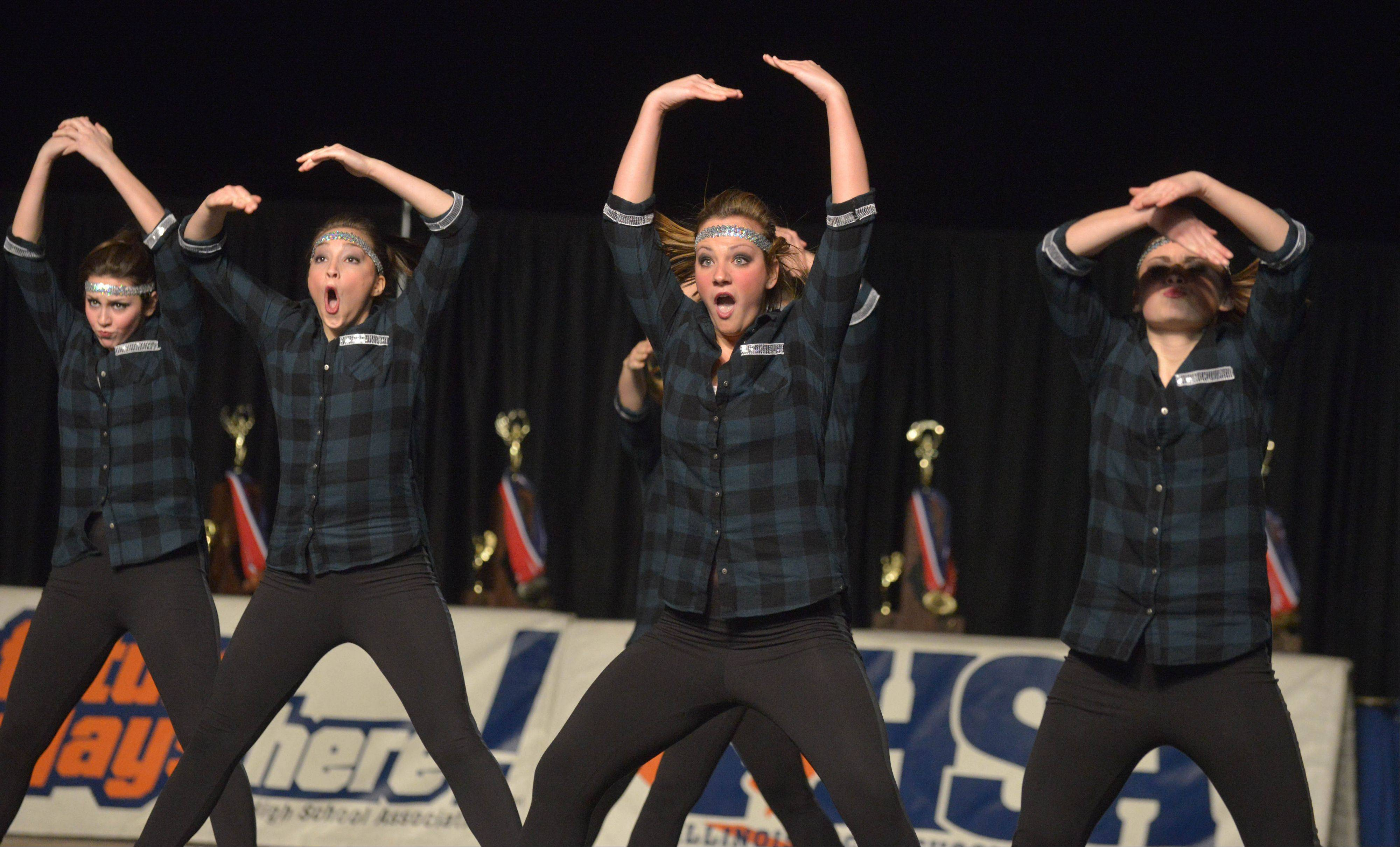 The Prairie Ridge High School dance team takes part in the Competitive Dance preliminary round Friday at U.S. Cellular Coliseum in Bloomington.