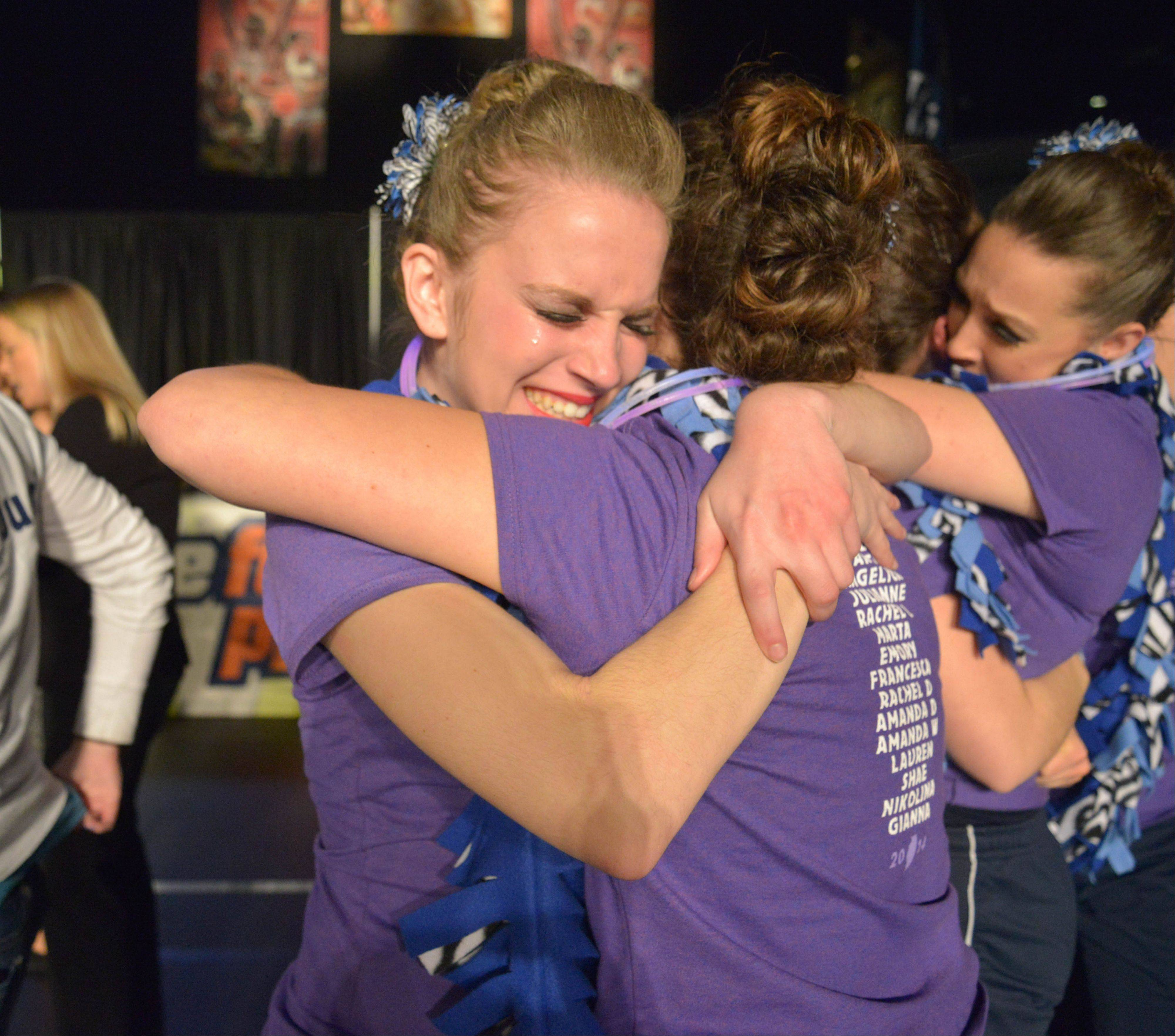 Gianna Mazeska of Lake Park High School can't hold back the tears of joy after winning First place in the 3A IHSA Dance State Final at U.S. Cellular Coliseum in Bloomington Saturday. 90 teams vied for state champion at this event.