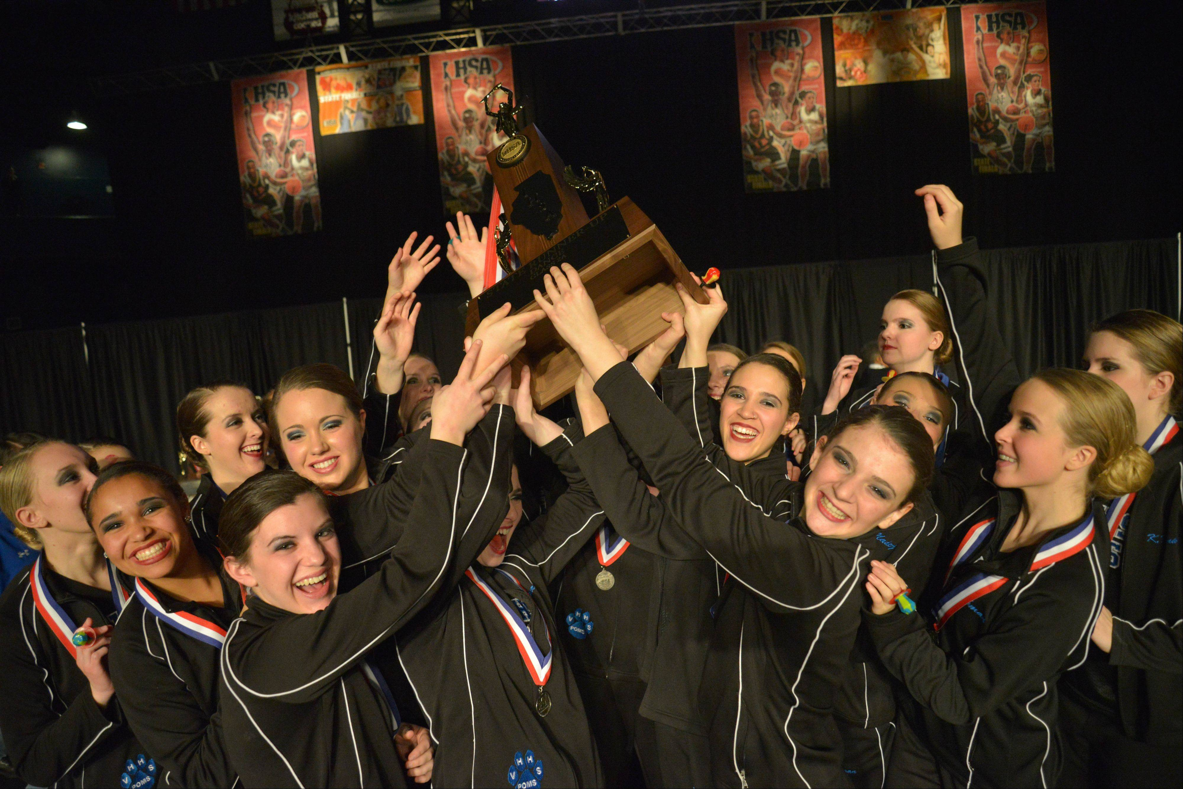 Vernon HIlls High School won second place at the 2A IHSA Dance State Final at U.S. Cellular Coliseum in Bloomington Saturday. 90 teams vied for state champion at this event.