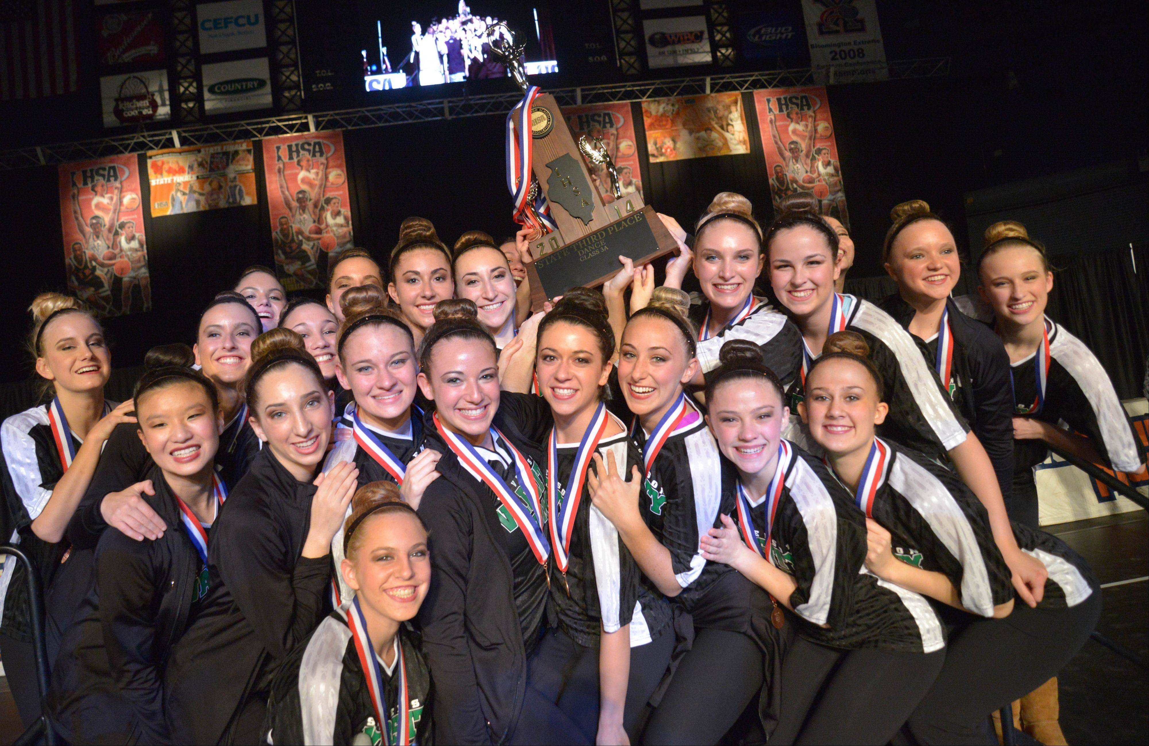 Stevenson High School after they won 3rd in the 3A IHSA Dance State Final at U.S. Cellular Coliseum in Bloomington Saturday. 90 teams vied for state champion at this event.