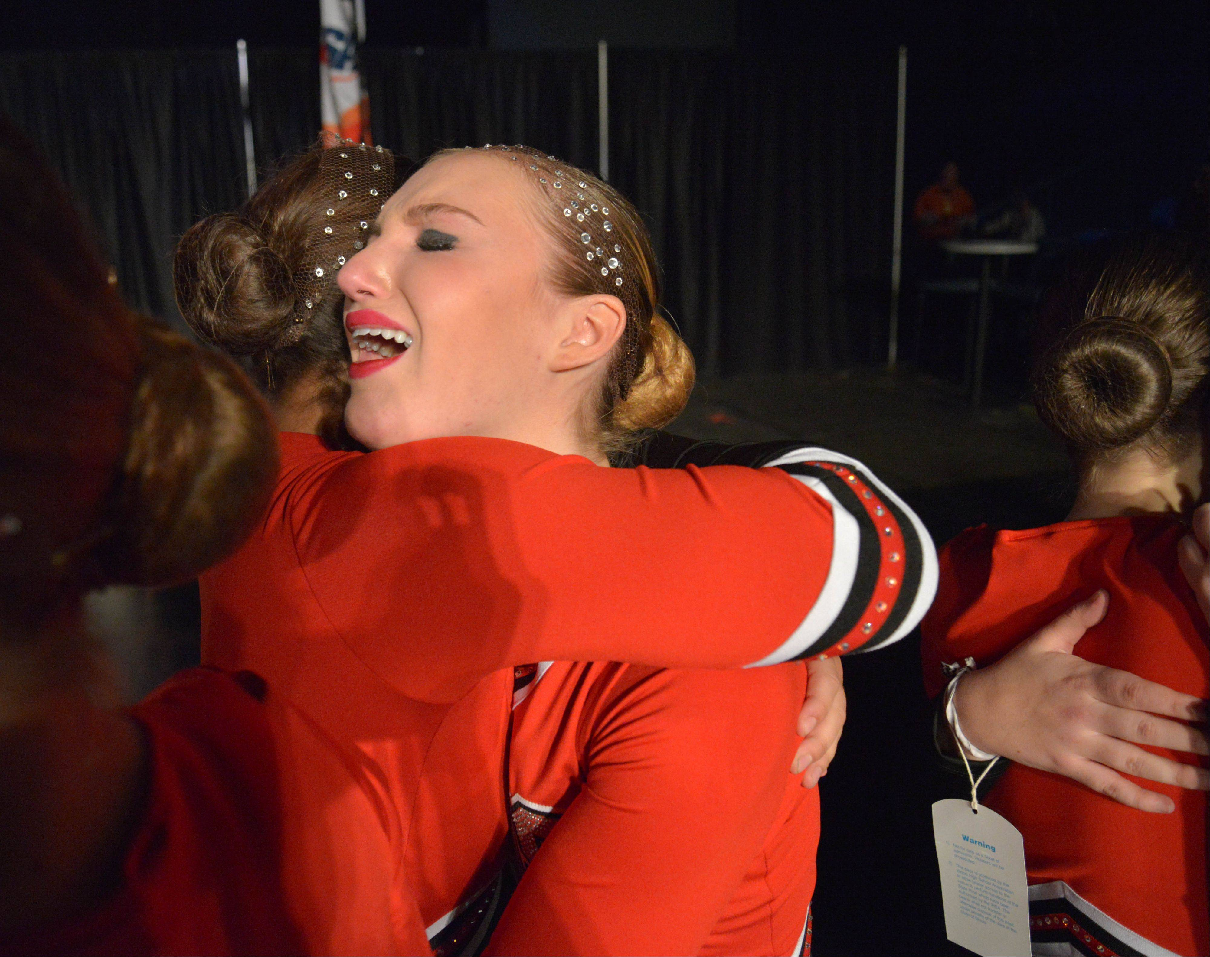 Lauren Delisle of Barrington High School can't hold back the tears of joy after winning second place in the 3A IHSA Dance State Final at U.S. Cellular Coliseum in Bloomington Saturday. 90 teams vied for state champion at this event.