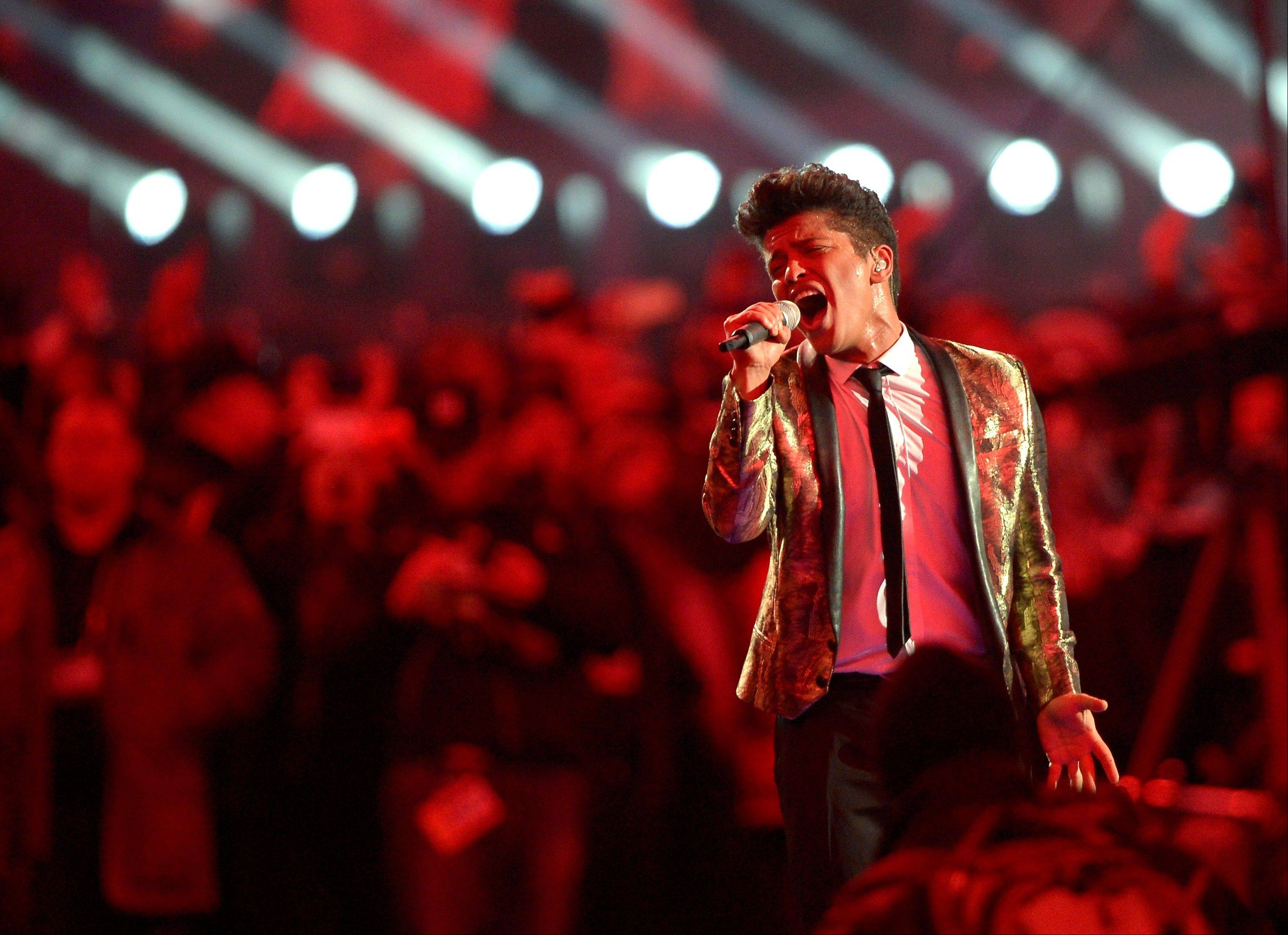 Bruno Mars performs during the halftime show of the NFL Super Bowl XLVIII football game between the Seattle Seahawks and the Denver Broncos Sunday in East Rutherford, N.J.