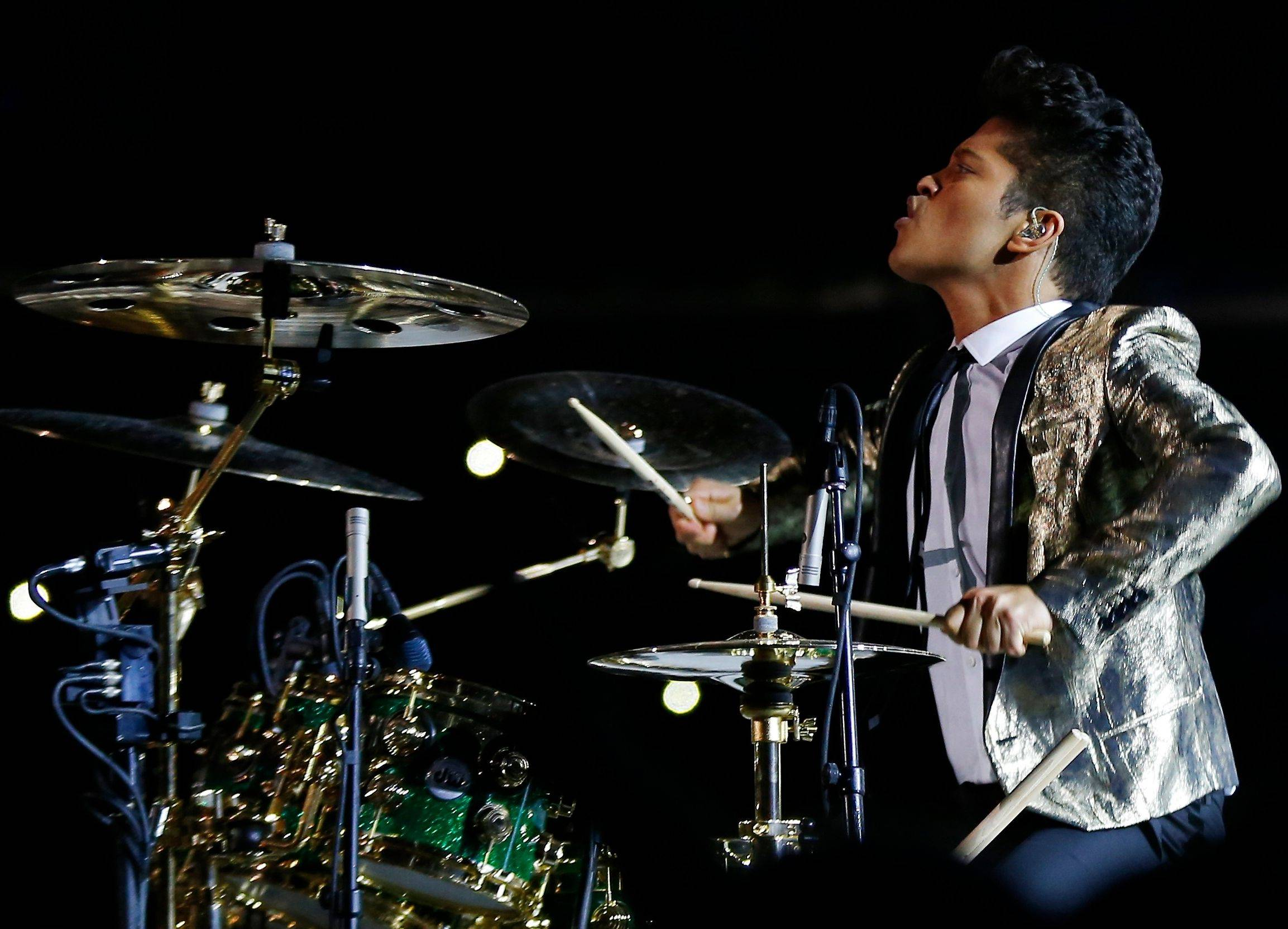 Bruno Mars performs during the halftime show of the NFL Super Bowl XLVIII football game Sunday in East Rutherford, N.J.