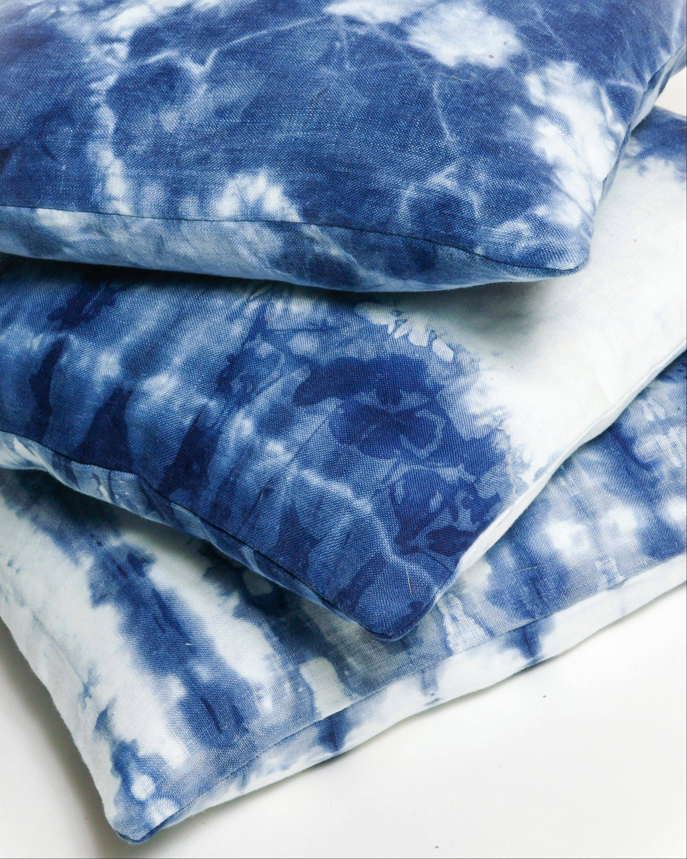 Oriana DiNella recently launched her own Web-based shibori line, OriShibori.com, including linen tableware, pillows and throws, and large leather wall hangings, are all made to order and hand-dyed in organic indigo.