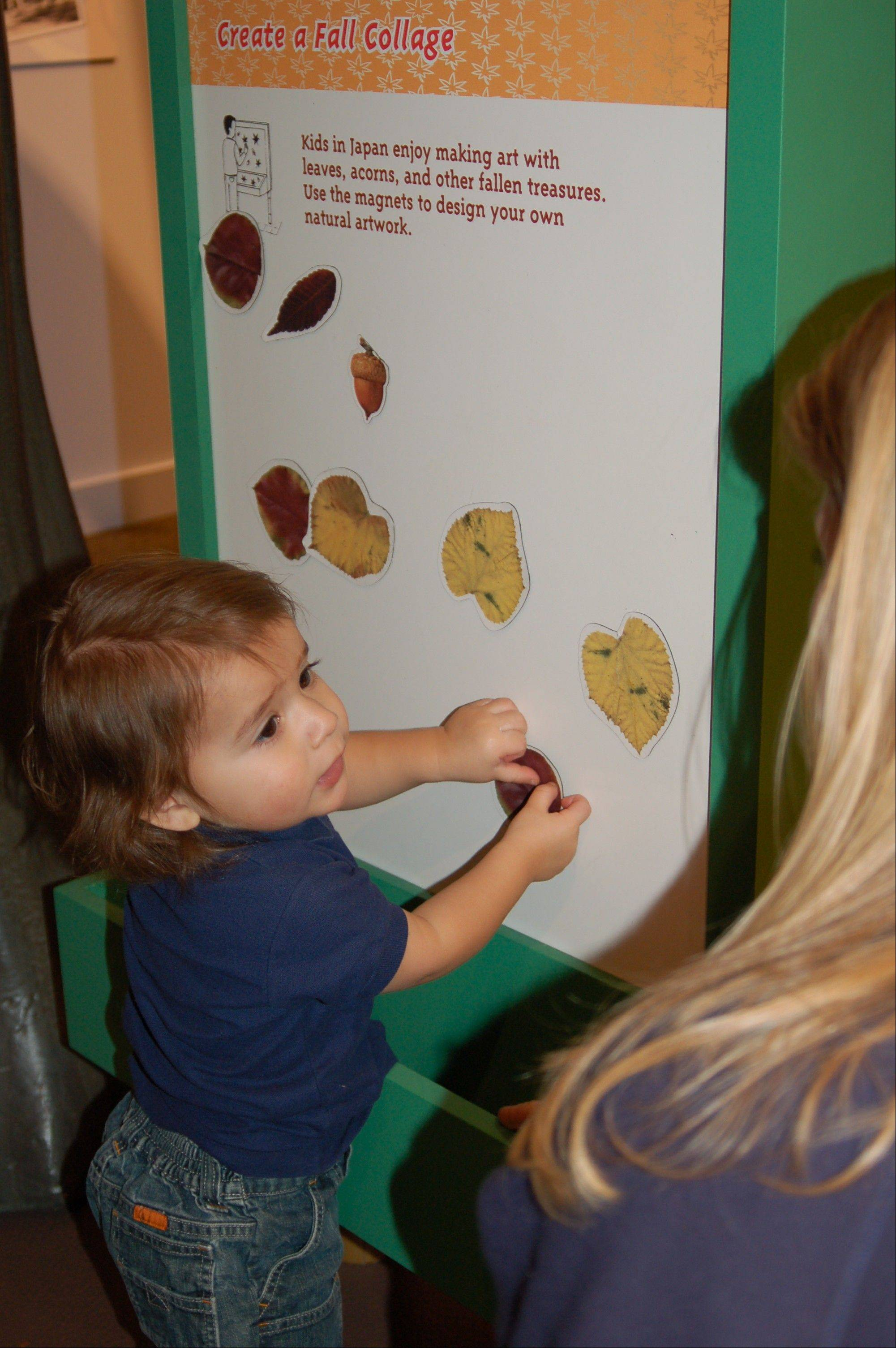 "Children use leaf magnets to create a collage at ""Japan and Nature: Spirits of the Season"" at Kohl Children's Museum in Glenview."