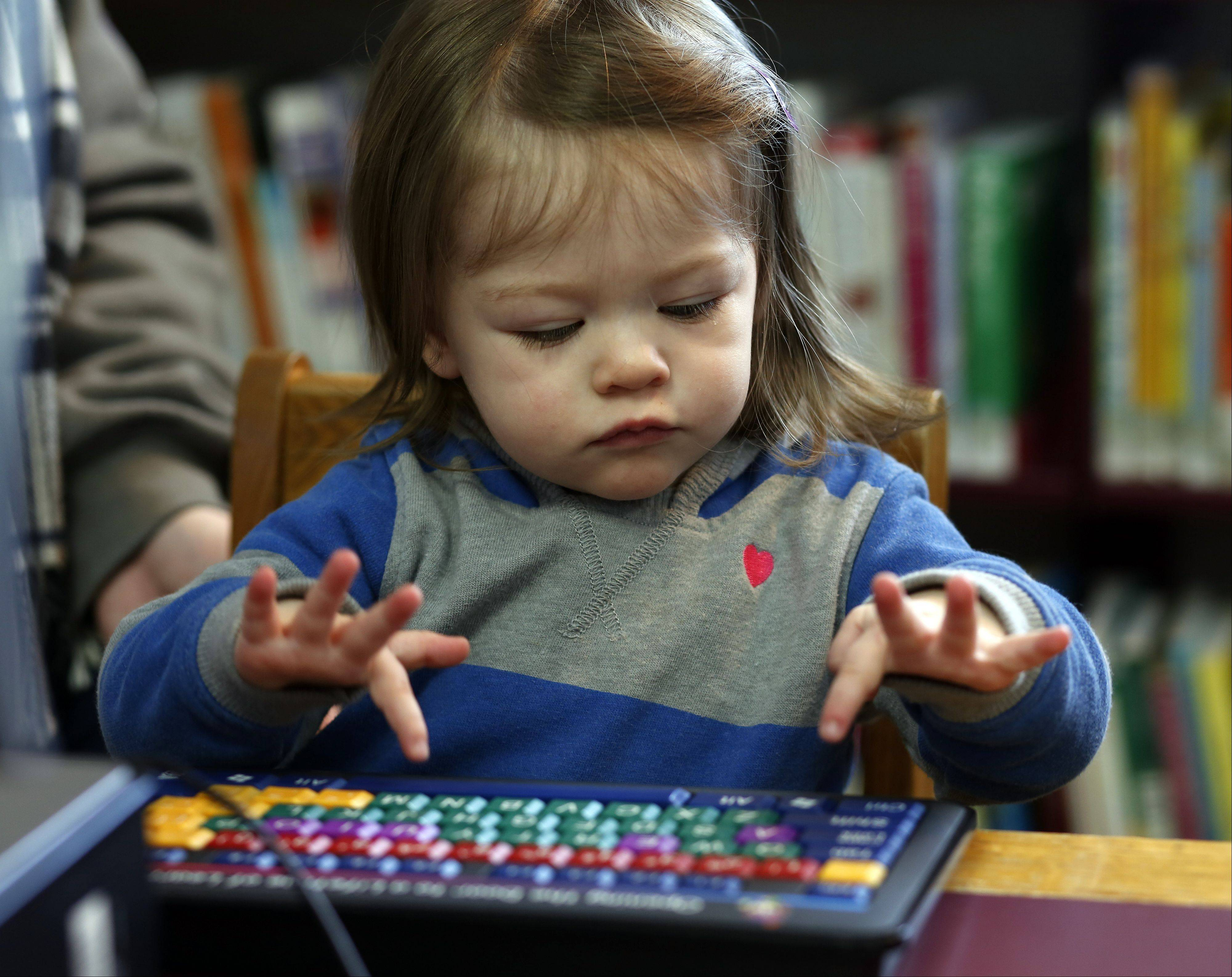 The Huntley Library is celebrating its 25th anniversary this year. Here 19-month-old Zoe Peters of Huntley works to identify animals on a library computer.