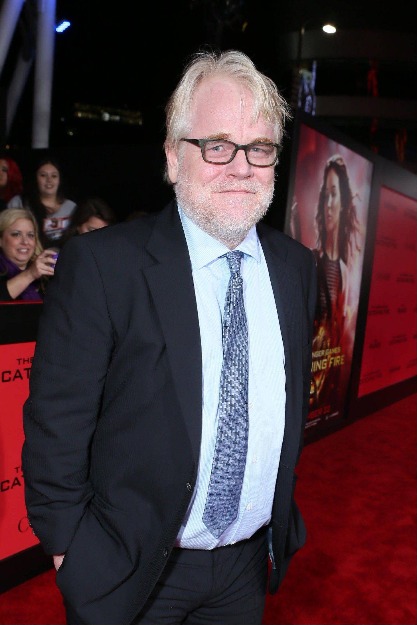 "In a Monday, Nov, 18, 2013 file photo, Philip Seymour Hoffman seen at Lionsgate's ""The Hunger Games: Catching Fire"" Los Angeles premiere."