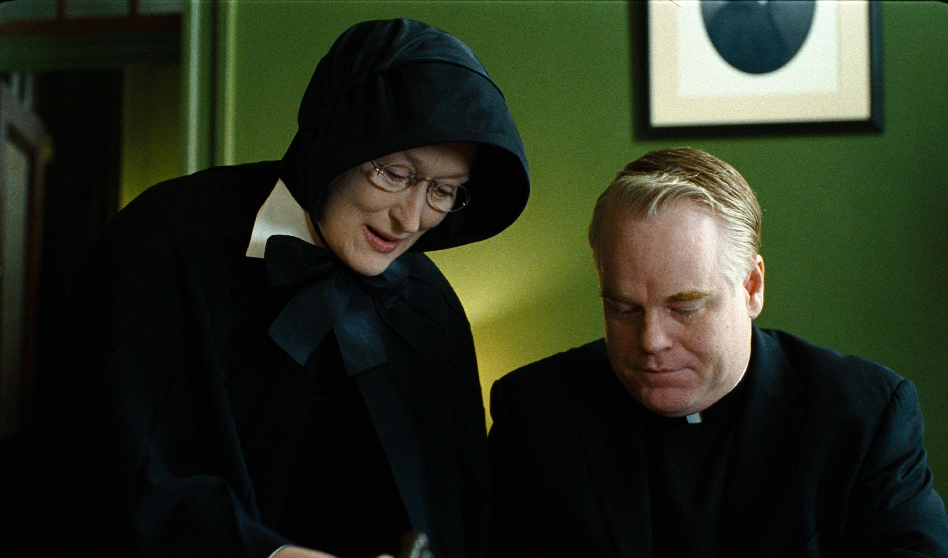 "Philip Seymour Hoffman and Meryl Streep star in 2008's ""Doubt."""