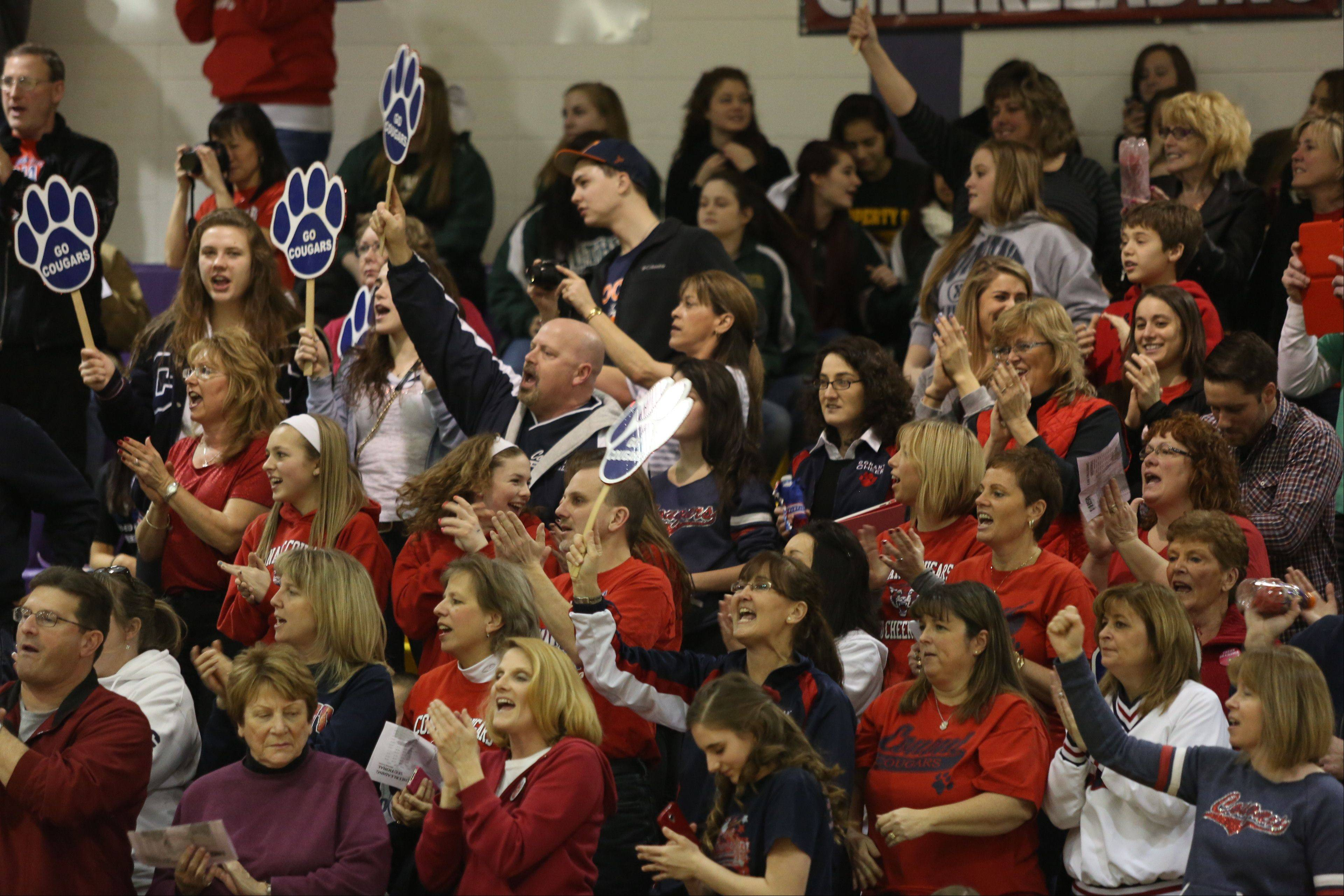 Conant High School fans cheer on the team as they compete in the Coed Team category during the IHSA Cheerleading Sectional Sunday hosted by Rolling Meadows High School.