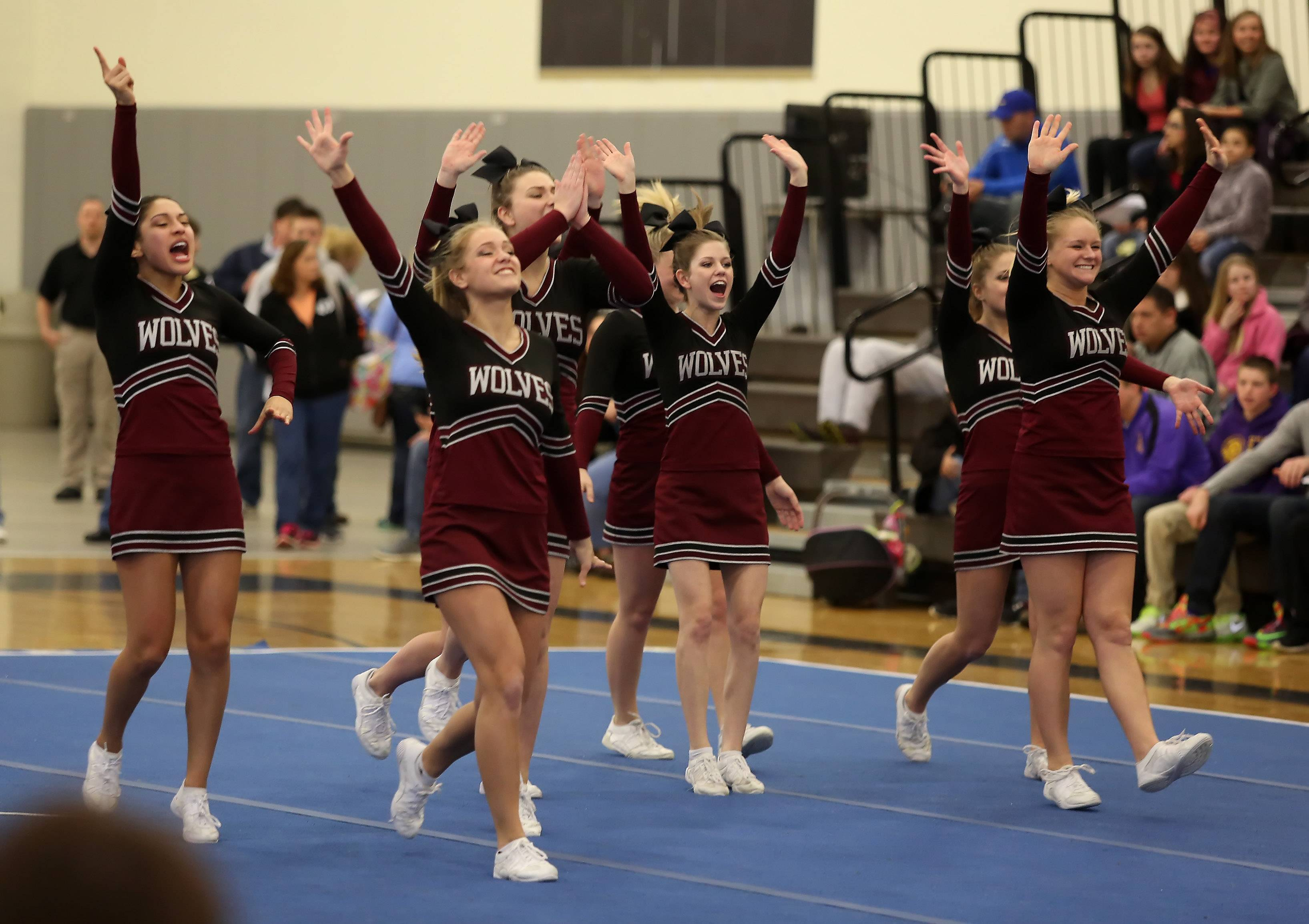 Prairie Ridge High School competes in the Large Team category during the IHSA Cheerleading Sectional Sunday hosted by Grayslake North High School.