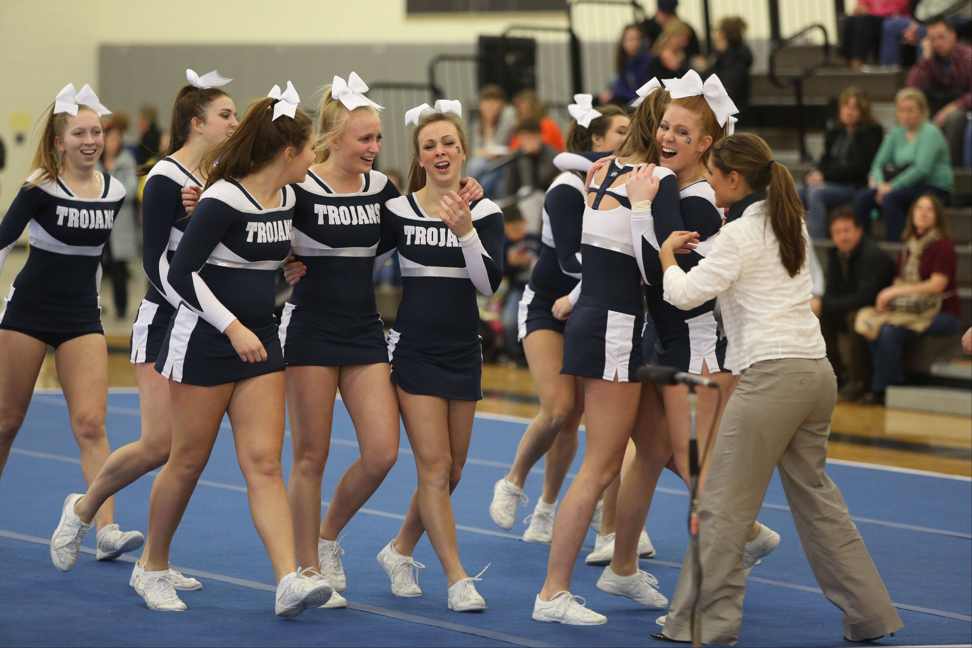 Cary-Grove High School celebrates after competing in the Large Team category during the IHSA Cheerleading Sectional Sunday hosted by Grayslake North High School.