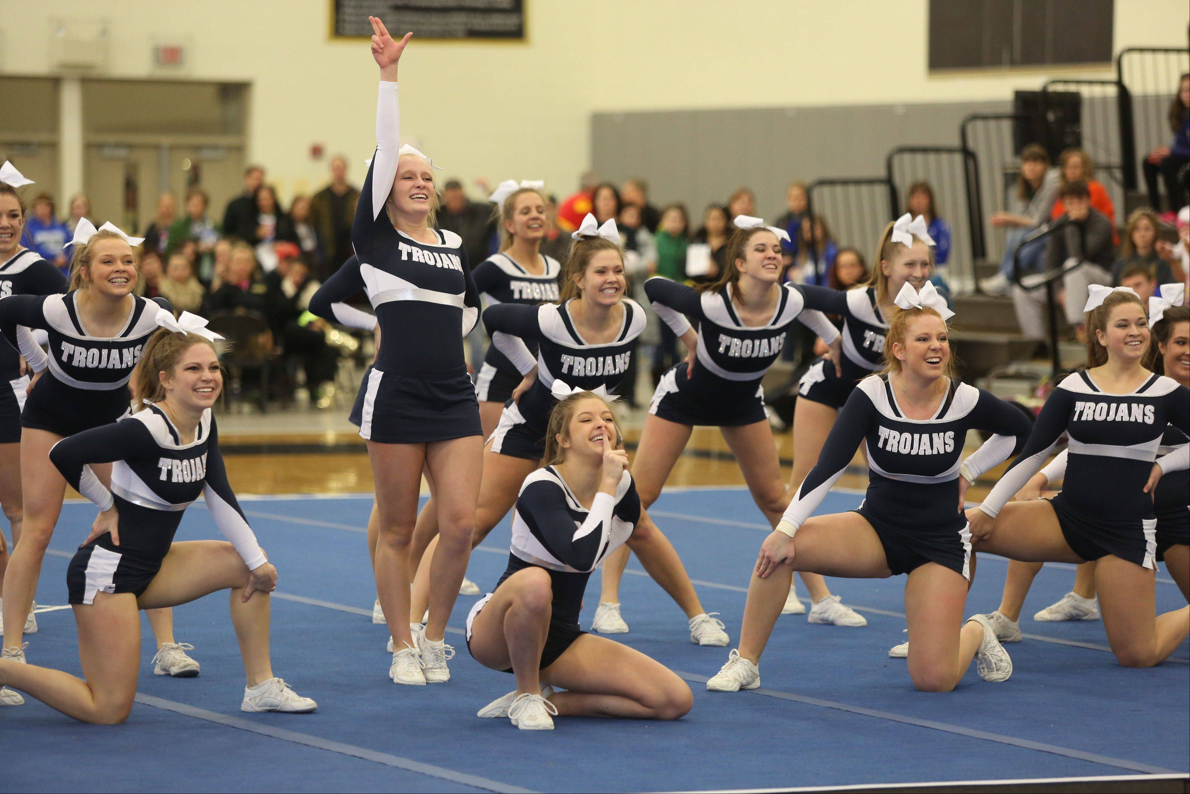 Cary-Grove High School competes in the Large Team category during the IHSA Cheerleading Sectional Sunday hosted by Grayslake North High School.