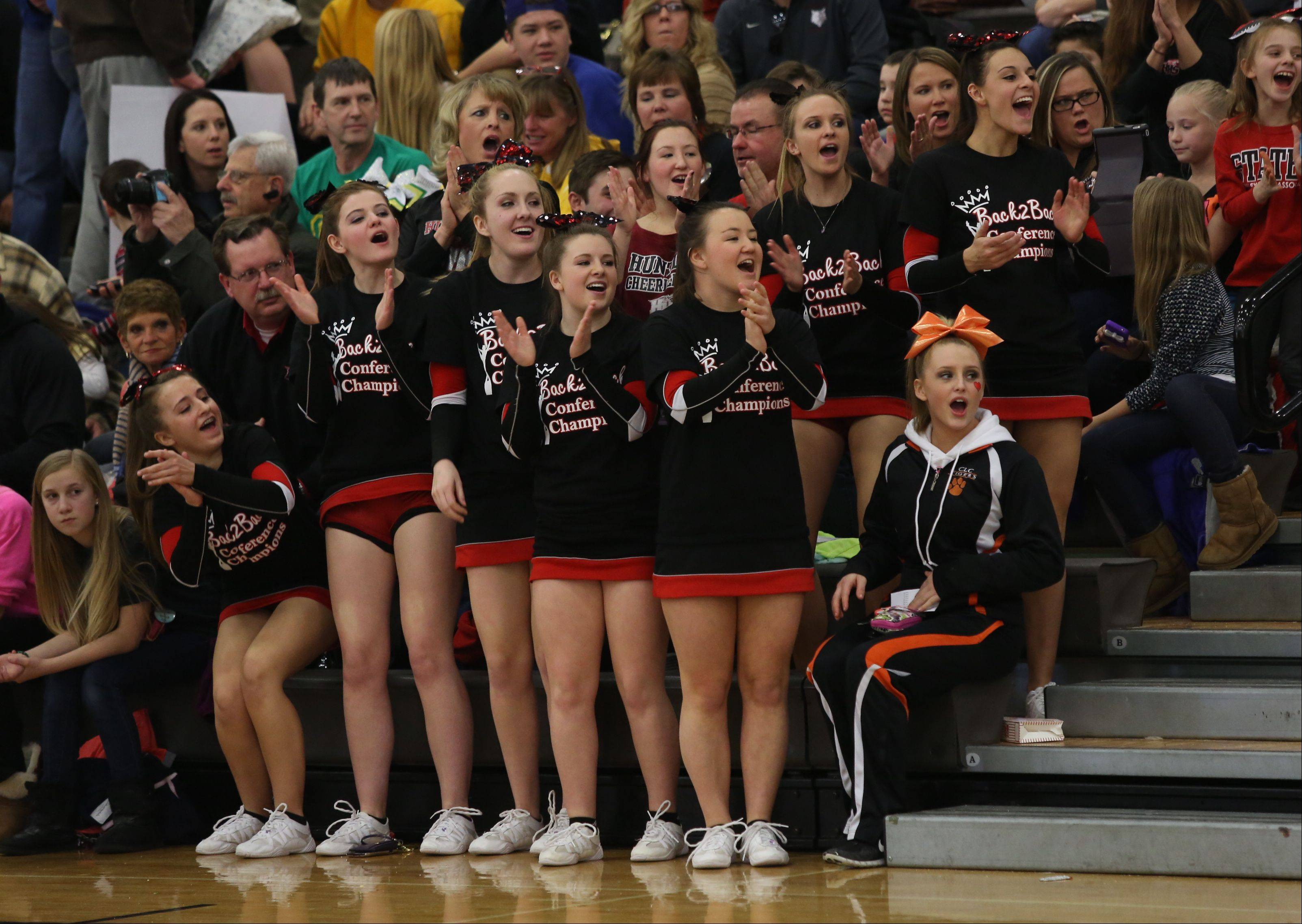 Huntley High School fans cheer for the team in the Large Team category during the IHSA Cheerleading Sectional Sunday hosted by Grayslake North High School.