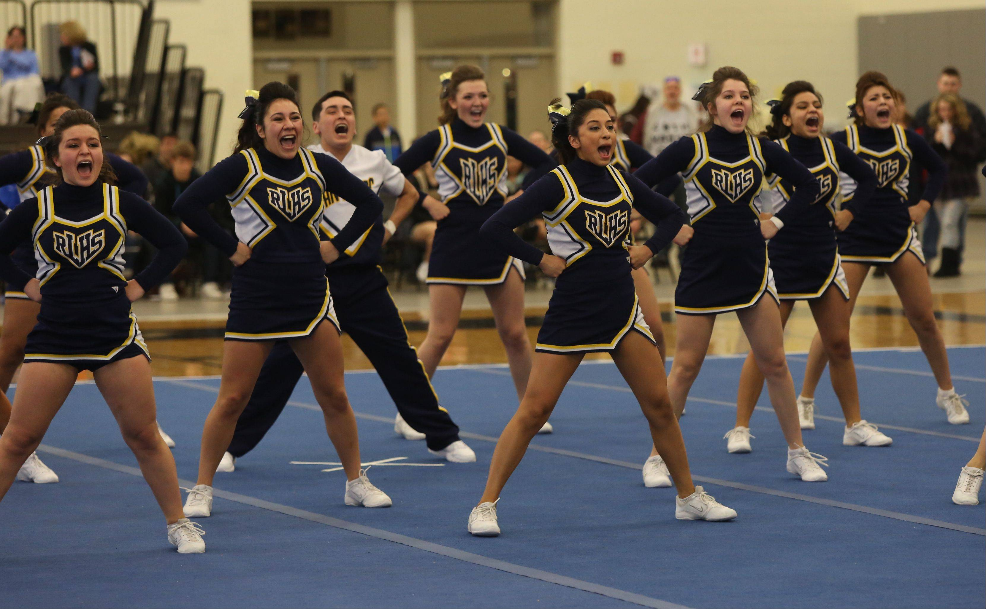 Round Lake High School competes in the Large Team category during the IHSA Cheerleading Sectional Sunday hosted by Grayslake North High School.