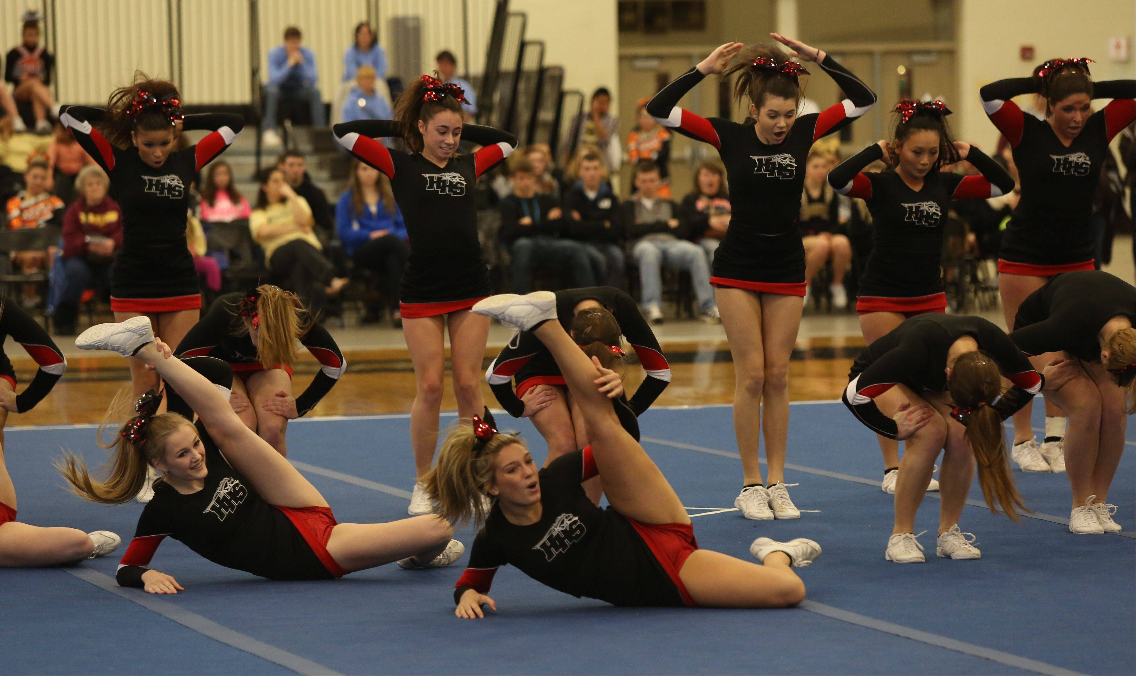 Huntley High School competes in the Large Team category during the IHSA Cheerleading Sectional Sunday hosted by Grayslake North High School.