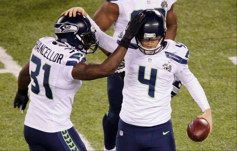 ... Jersey Nike Womens Grey NFL Seattle Seahawks Kam Chancellor (31)  celebrates with Steven Hauschka (4) during ... 5a05377a5
