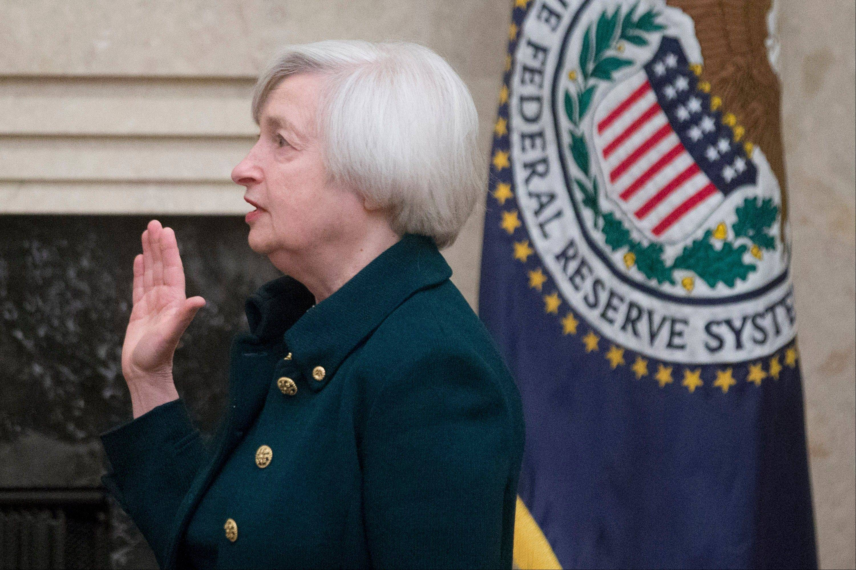 Janet Yellen, chairman of the U.S. Federal Reserve, takes the oath of office as chair of the Board of Governors of the Federal Reserve in Washington on Monday.