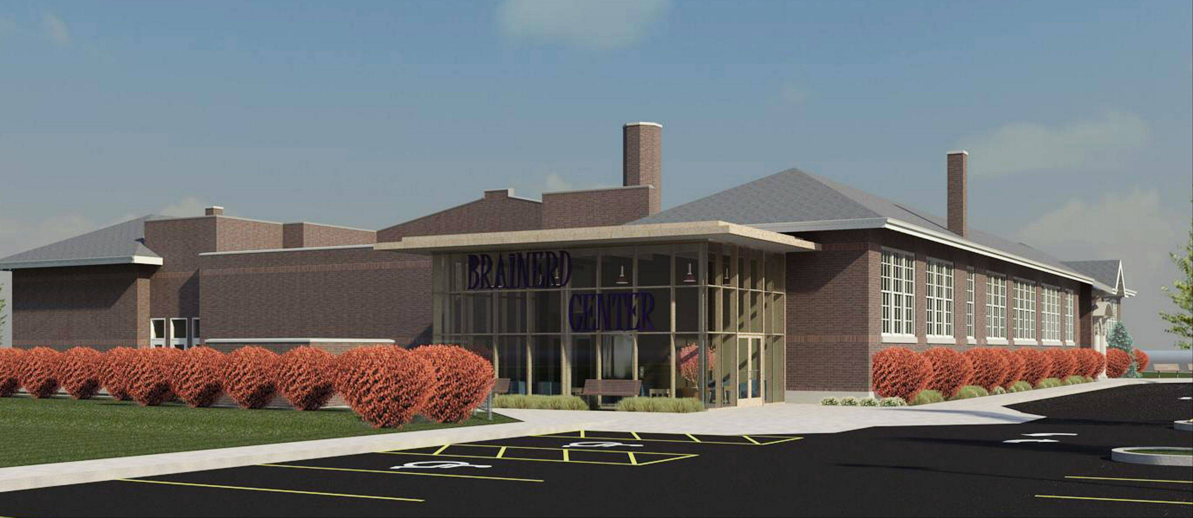This is an artist's rendering of the proposed Brainerd Community Center in Libertyville.