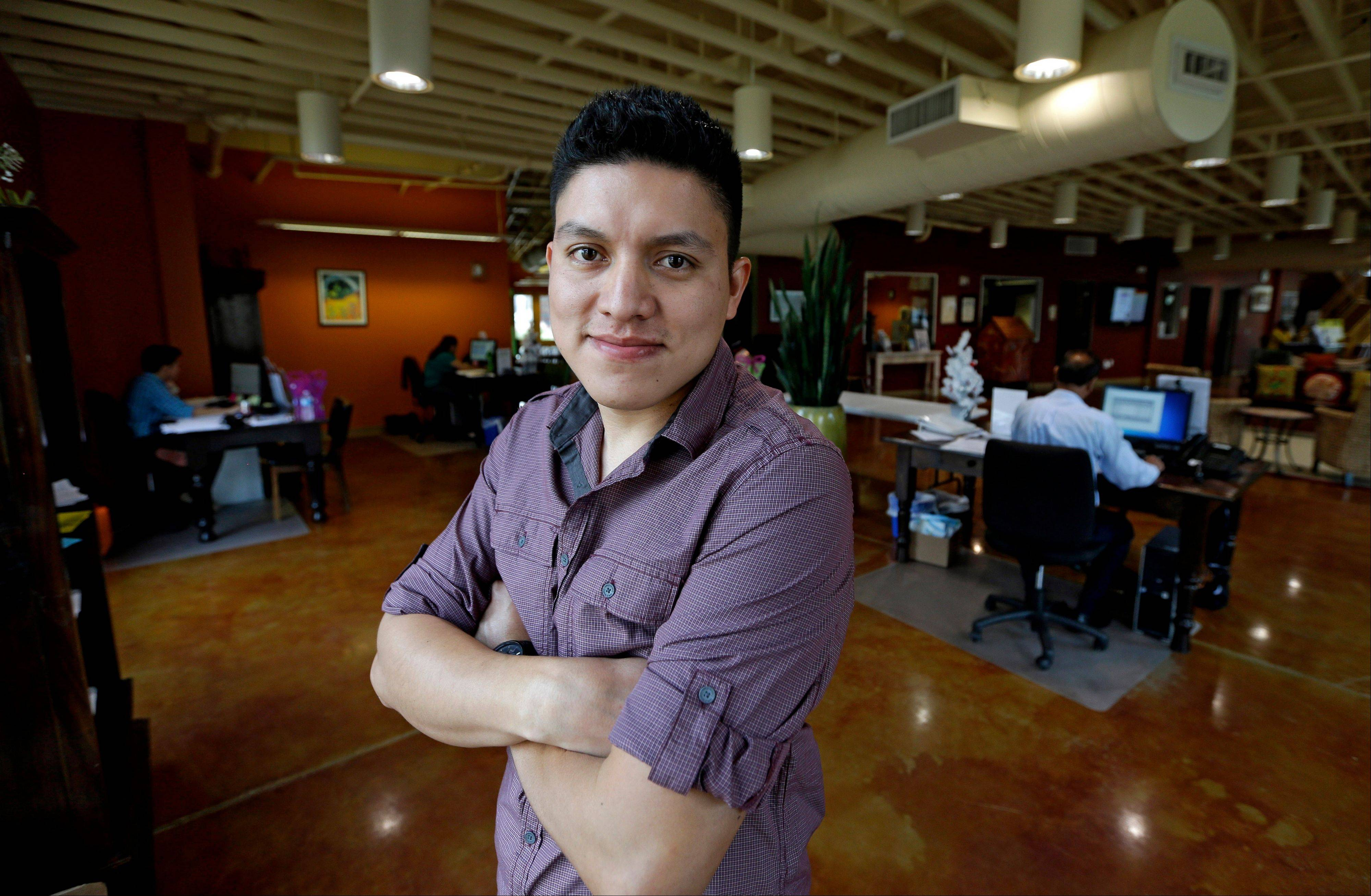 Manuel Enrique Angel, 28, of El Salvador, made learning English his first priority upon arriving in Houston from his native El Salvador two years ago. He now speaks English clearly and deliberately and plans to apply for citizenship as soon as he becomes eligible later this year. He estimates it will take him up to eight months to save the money for the citizenship application.