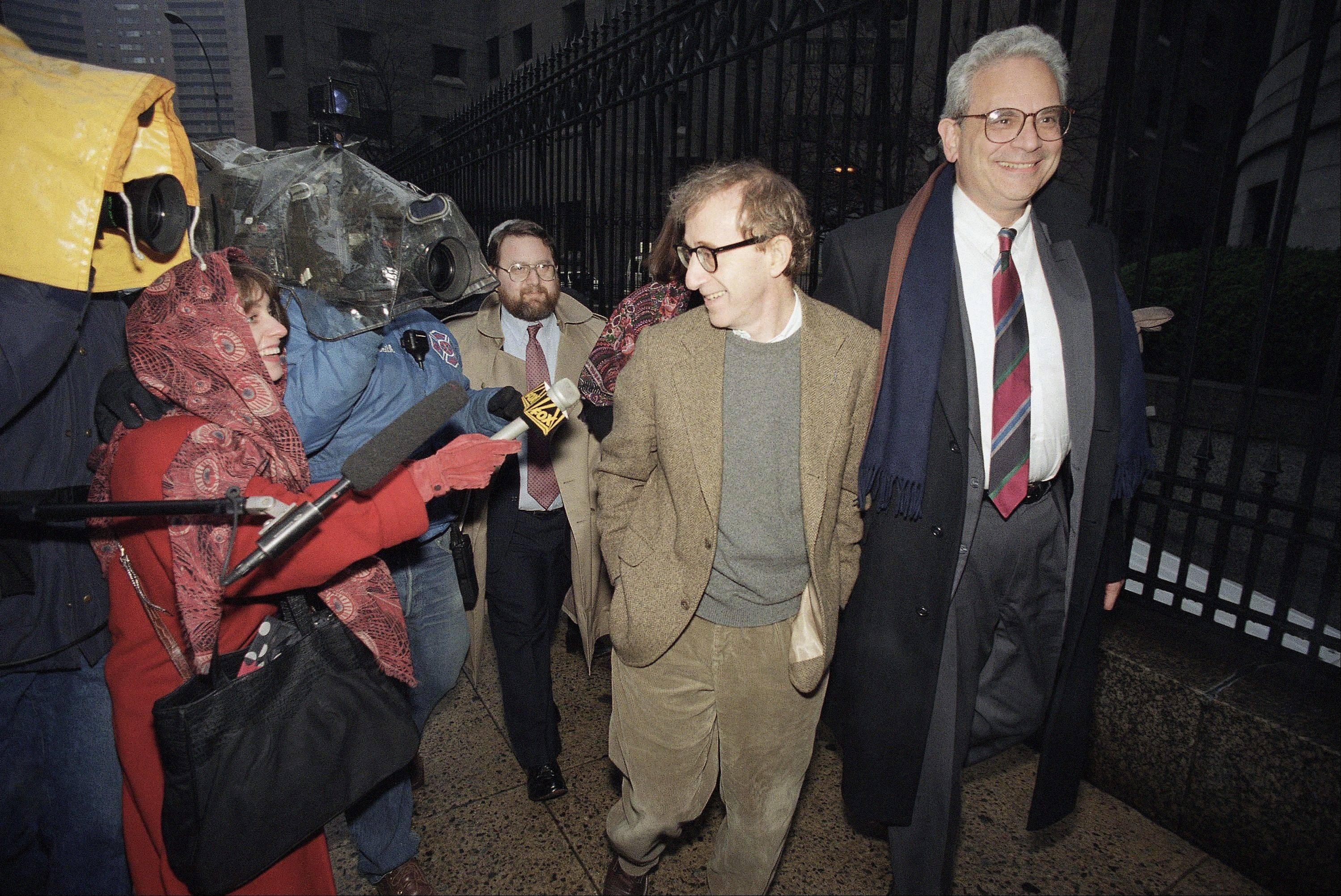 Director Woody Allen arrives at State Supreme Court in Manhattan, N.Y., in 1993 for a hearing in which he requested more liberal visitation rights with his children during his ongoing dispute with ex-lover Mia Farrow. Dylan Farrow renewed molestation allegations against Allen, Saturday, Feb. 1, claiming the movie director sexually assaulted her when she was 7 after he and actress Mia Farrow adopted her.