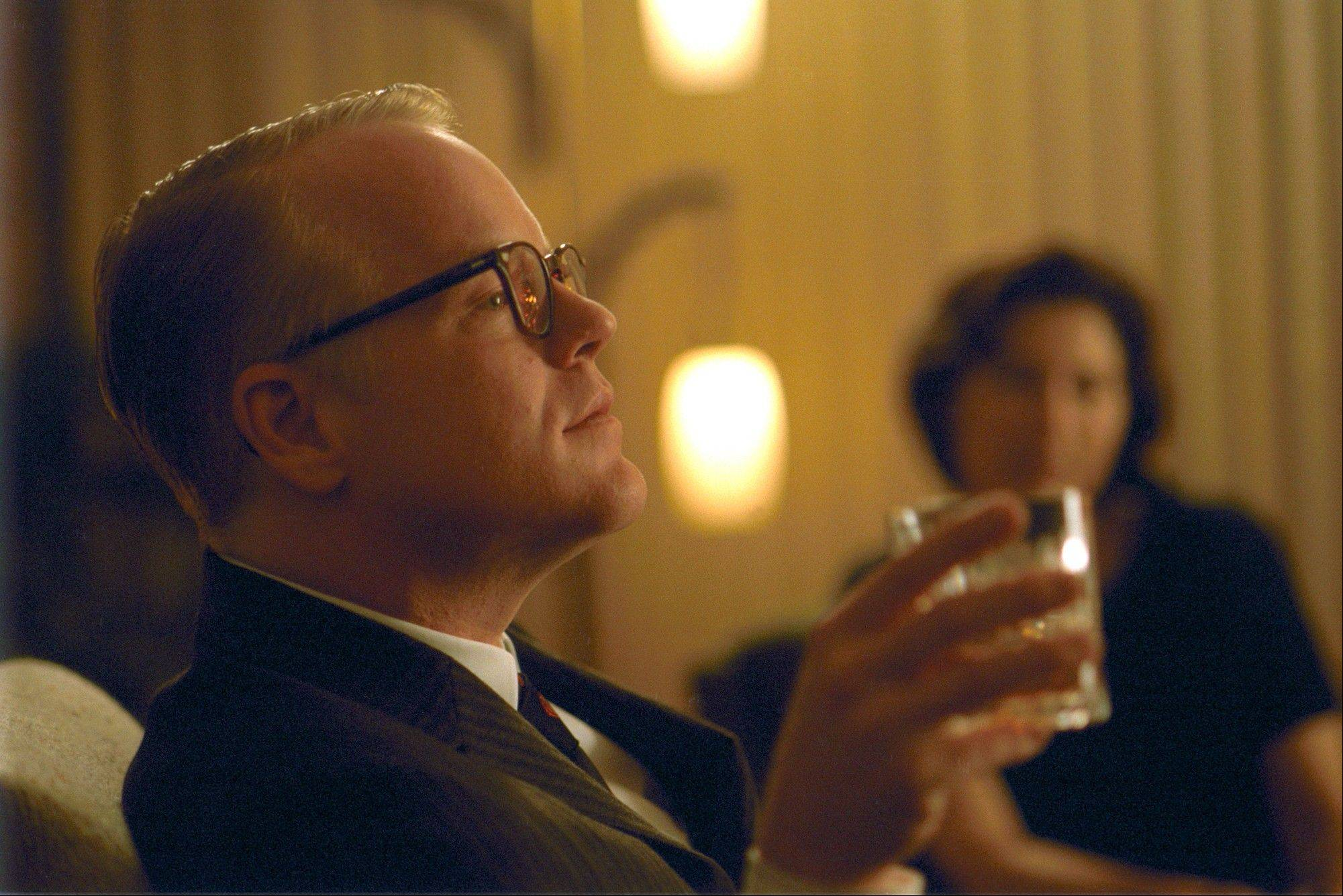 "Philip Seymour Hoffman portrayed Truman Capote, a one-of-a-kind author sent to Kansas to pen an article about the brutal murder of a family in a small Kansas town that sent shock waves through the nation in ""Capote."""