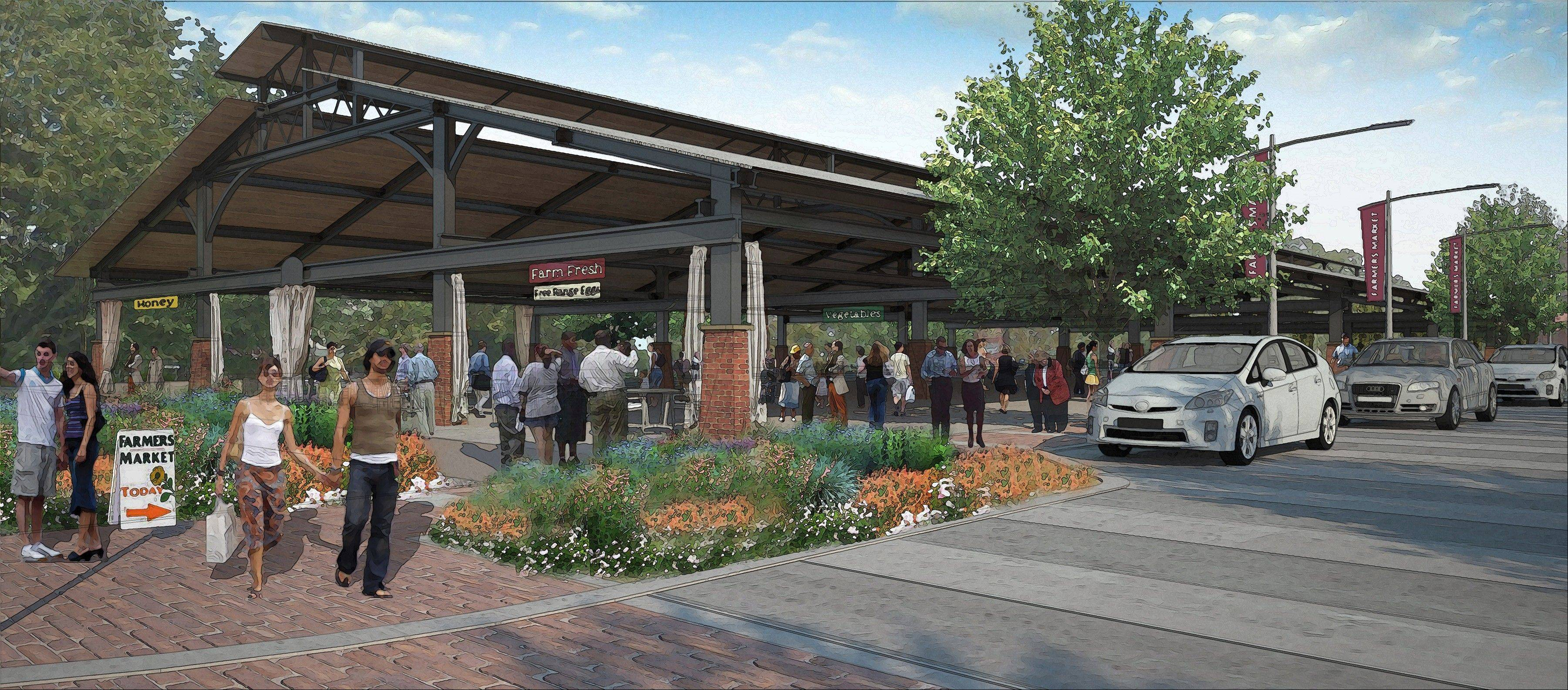 This artist's rendering shows the permanent French Market structure proposed for downtown Wheaton.