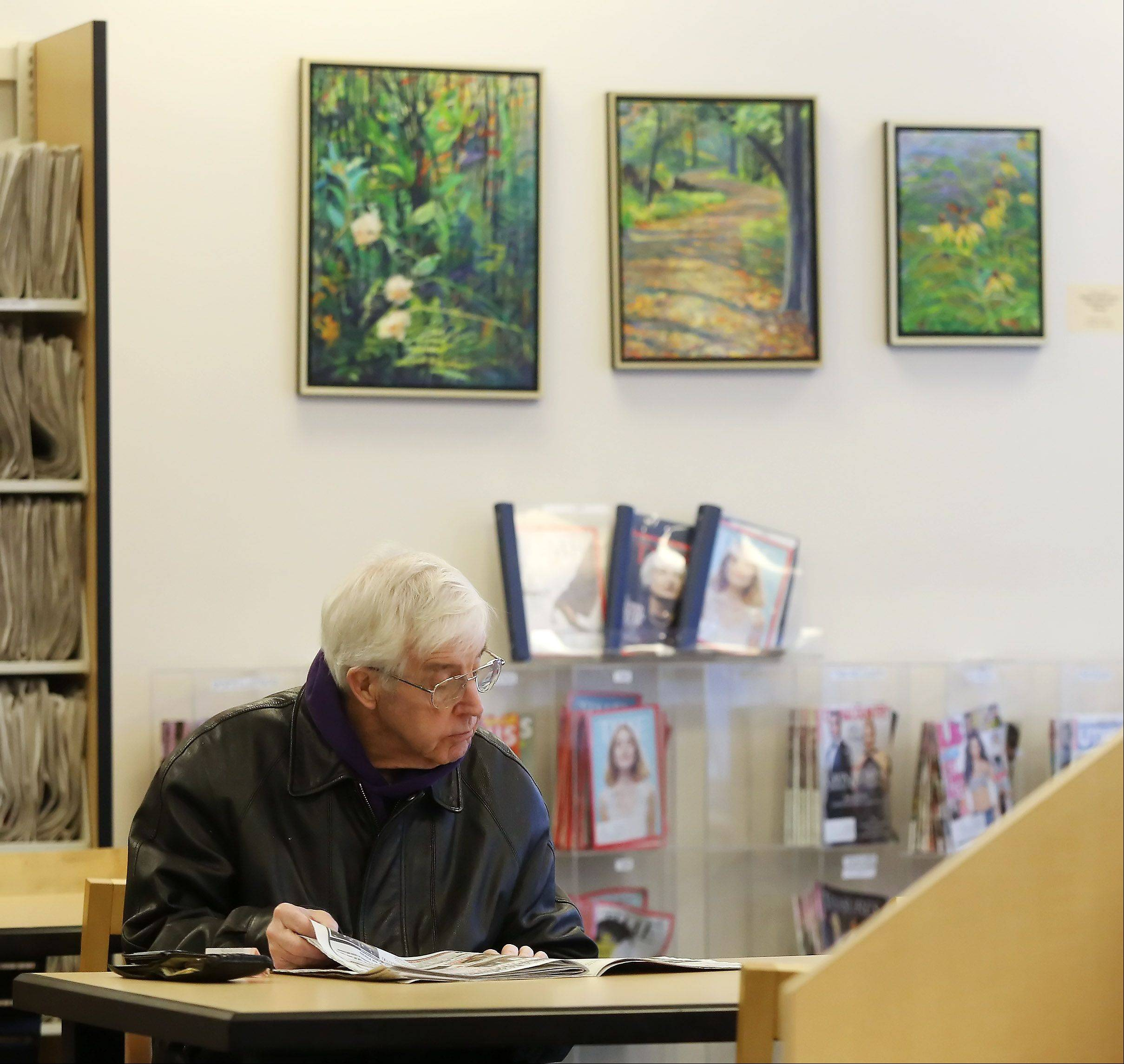 Gurnee resident William Shriver reads near artwork on the walls at Warren-Newport Public Library in Gurnee. Library officials are seeking proposals for a new commissioned piece and also are planning to display student artwork.