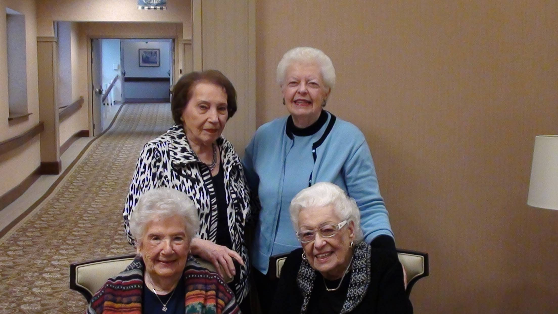 Back row: Vera Cohen (left), Nora O'Malley (right) Front row: Ruth Saffro (left), June Lauter (right)