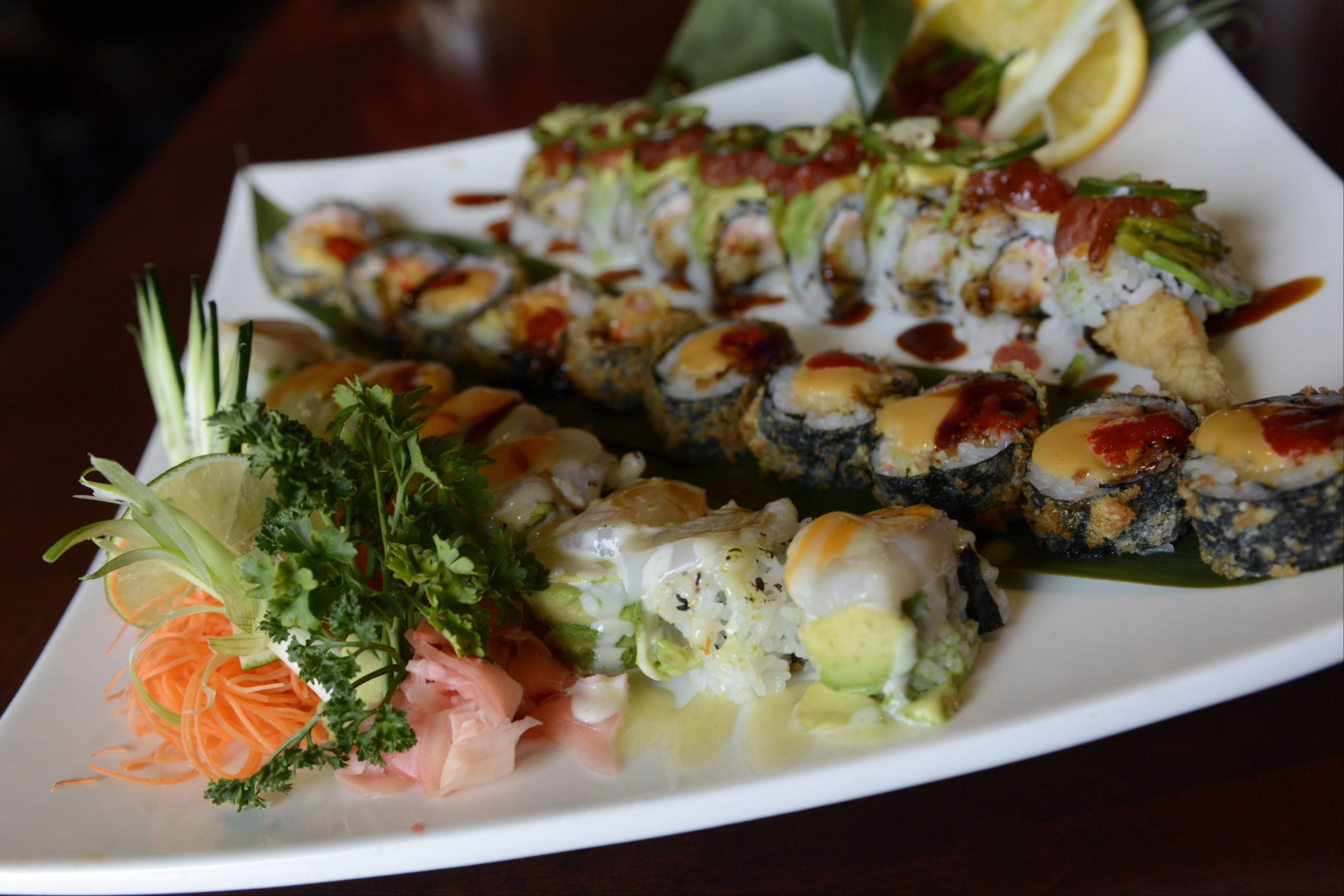 J-roll, St. Charles and Inky sushi, served at Wok'n Fire, South Barrington.