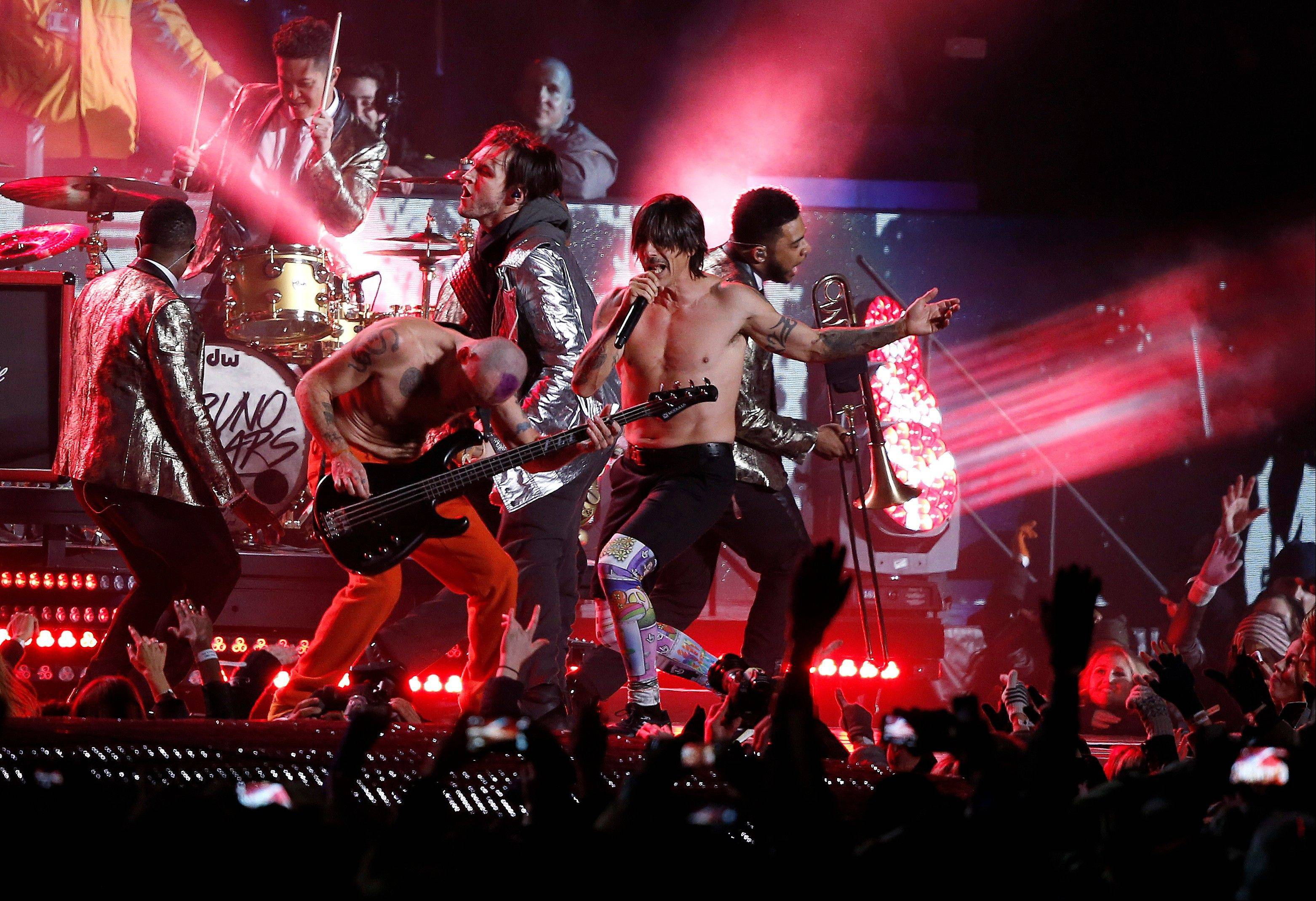The Red Hot Chili Peppers perform Sunday during the halftime show of the Super Bowl in East Rutherford, N.J.