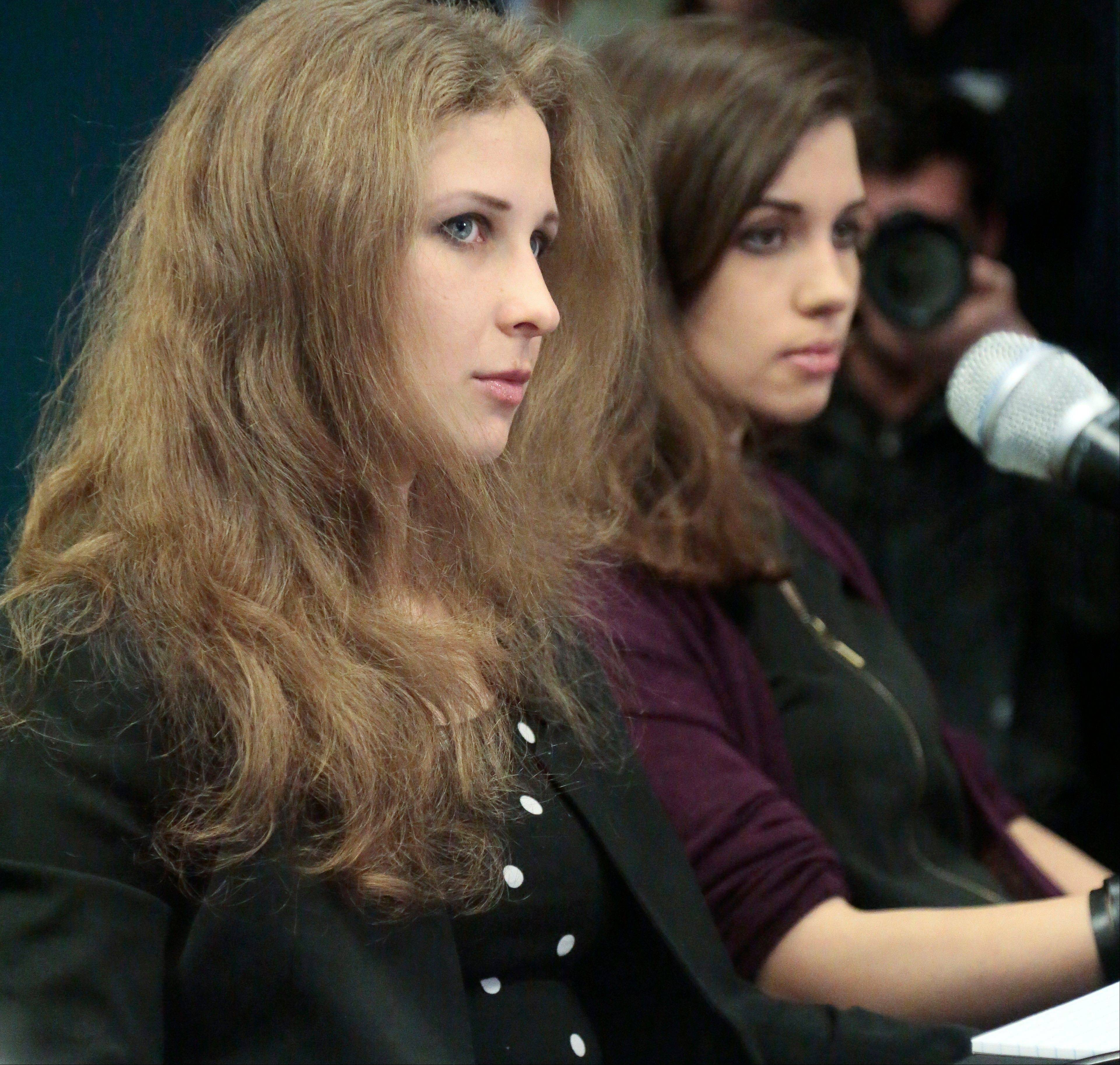 Nadezhda �Nadya� Tolokonnikova and Maria �Masha� Alyokhina, of the punk band Pussy Riot, hold a news conference Tuesday at Amnesty International�s New York headquarters.