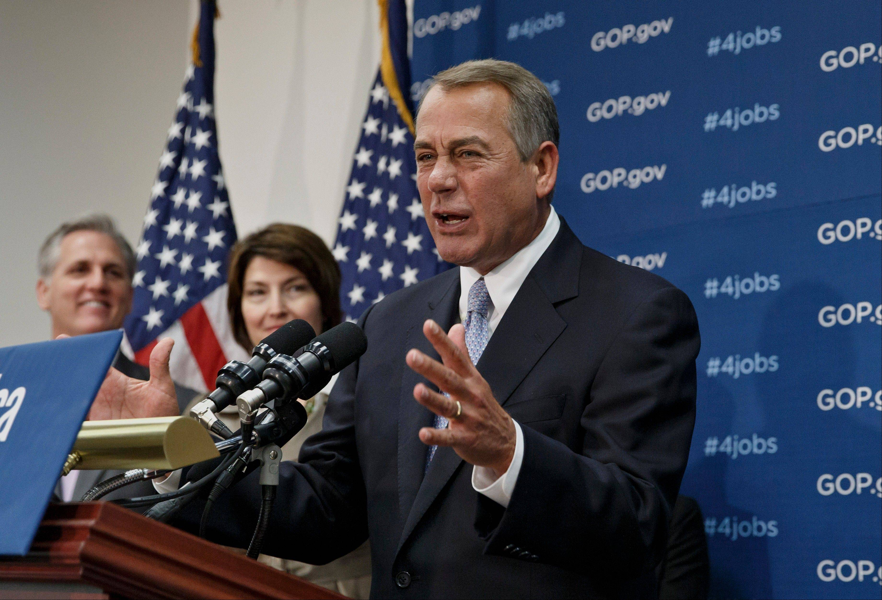 Several million people will reduce their hours on the job or leave the workforce entirely because of incentives built into President Barack Obama's health care overhaul, the Congressional Budget Office said Tuesday. House Speaker John Boehner of Ohio, right, is seen here, accompanied by House Majority Whip Kevin McCarthy of Calif., left, and Rep. Cathy McMorris Rodgers of Washington.