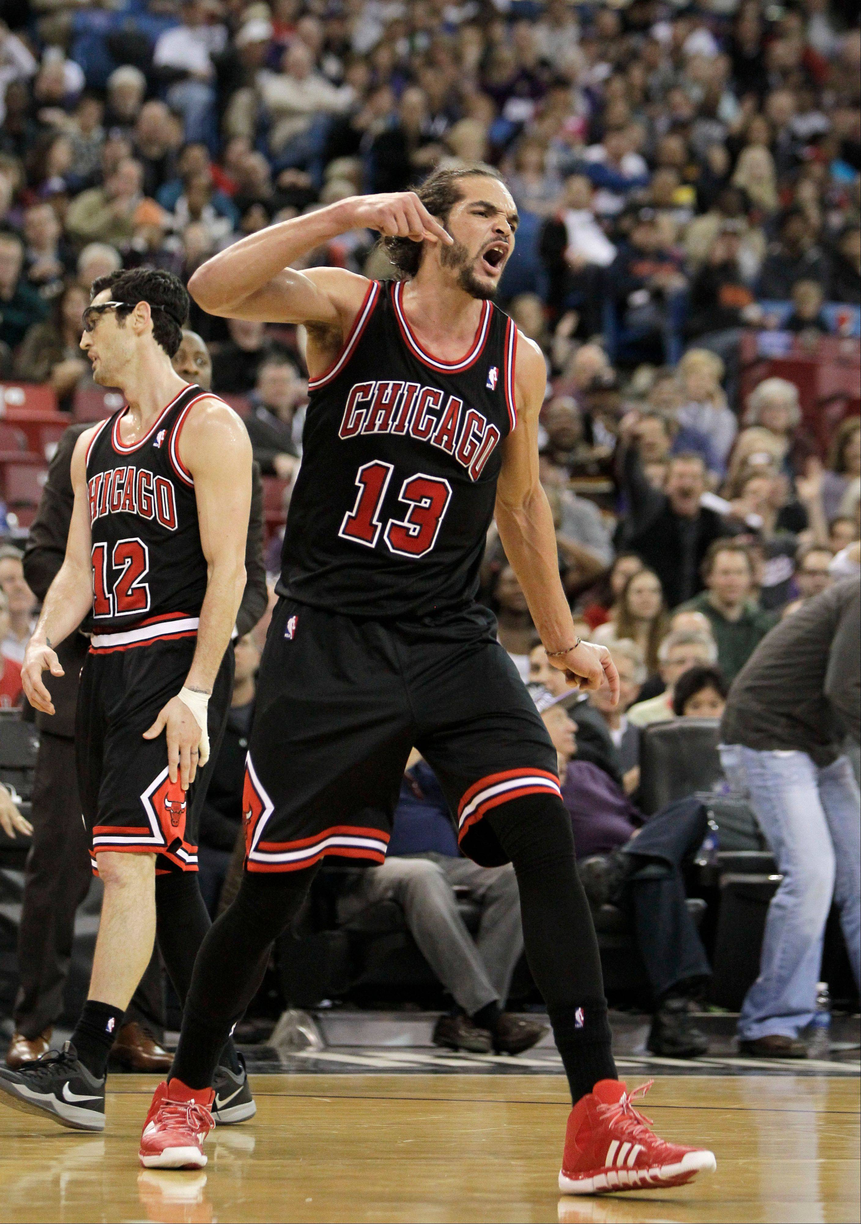 Chicago Bulls center Joakim Noah shouts after getting his second technical foul and was ejected from the game in the third quarter against the Sacramento Kings on Monday. The Kings won 99-70.