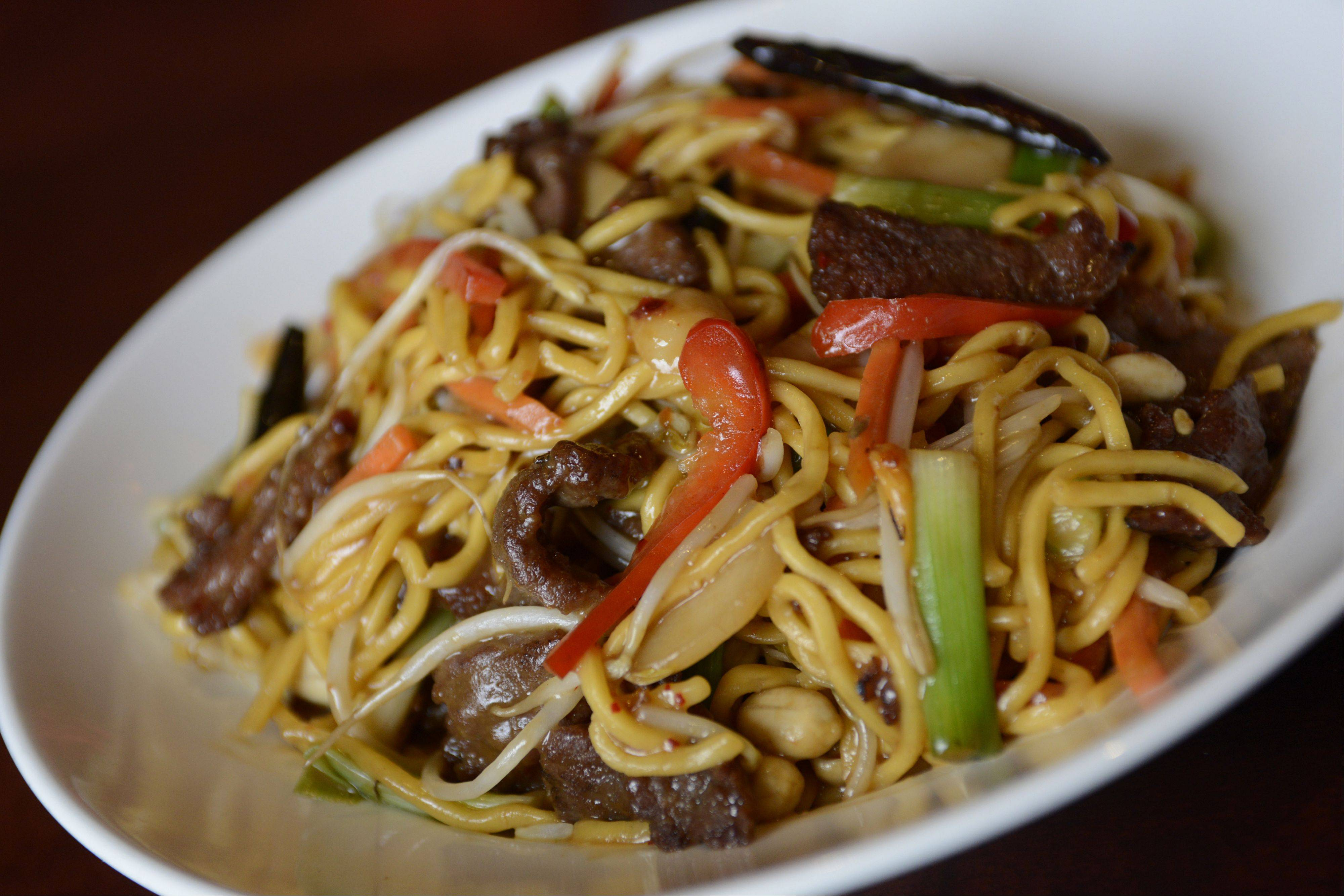 Heat up dinner with kung pao noodles with steak at Wok'n Fire in South Barrington.