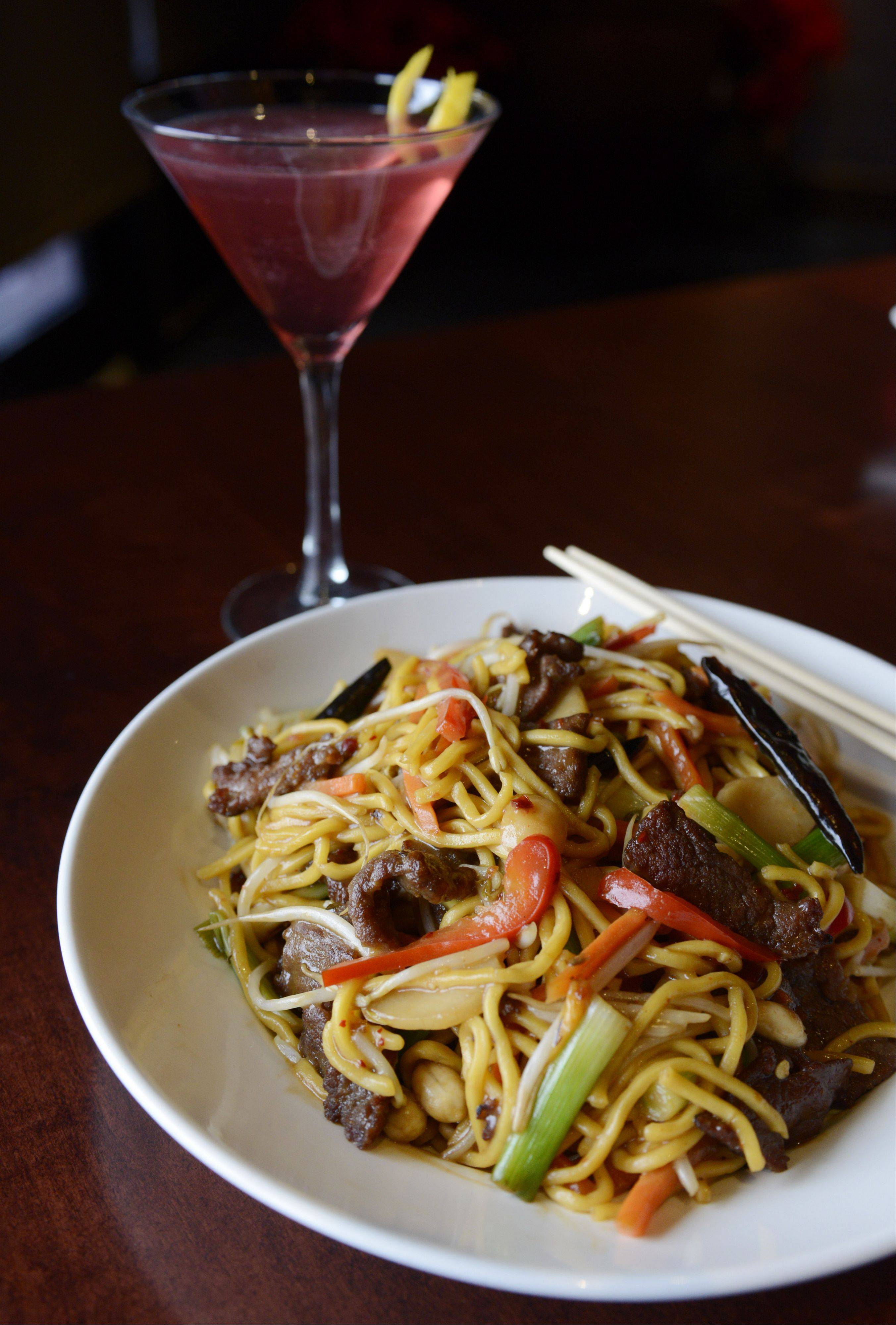 Kung pao noodles with steak, served at Wok'n Fire, South Barrington.
