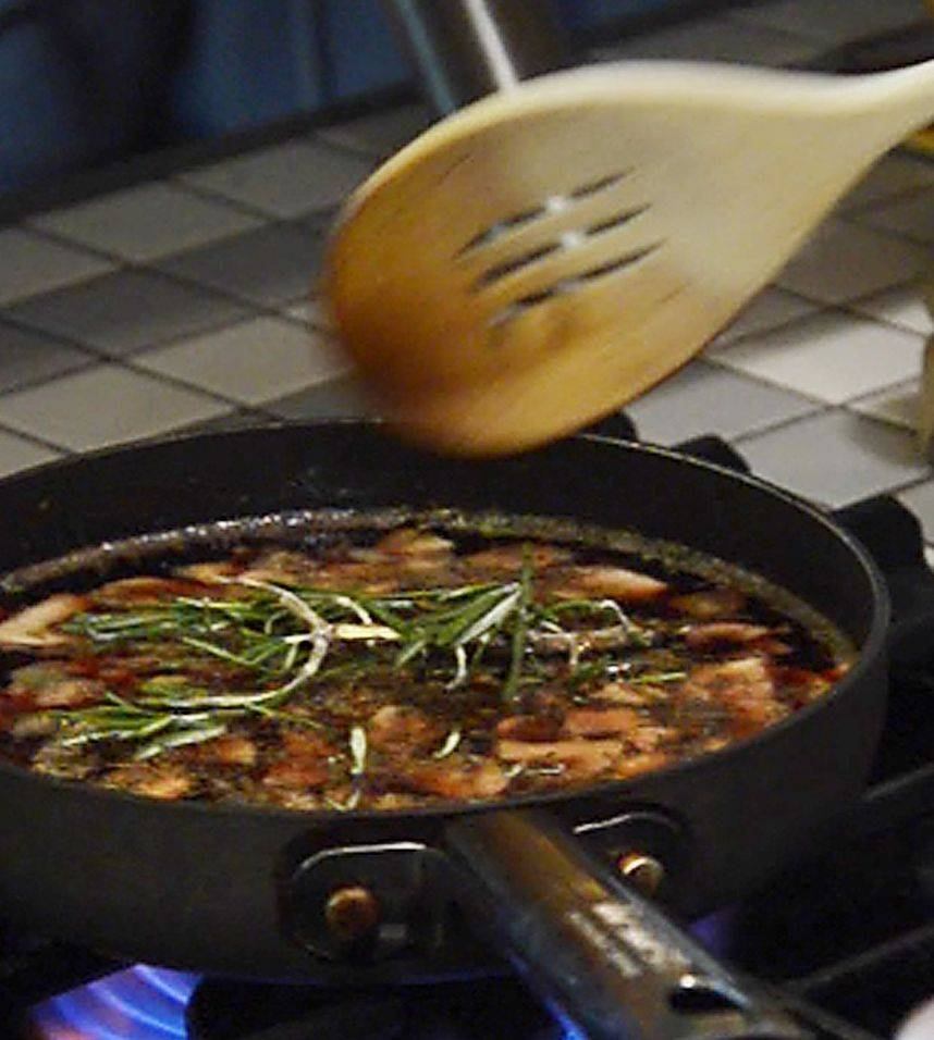 Tony Aiello infuses fresh rosemary in a red-wine sauce he serves with steak, vegetables and pasta.