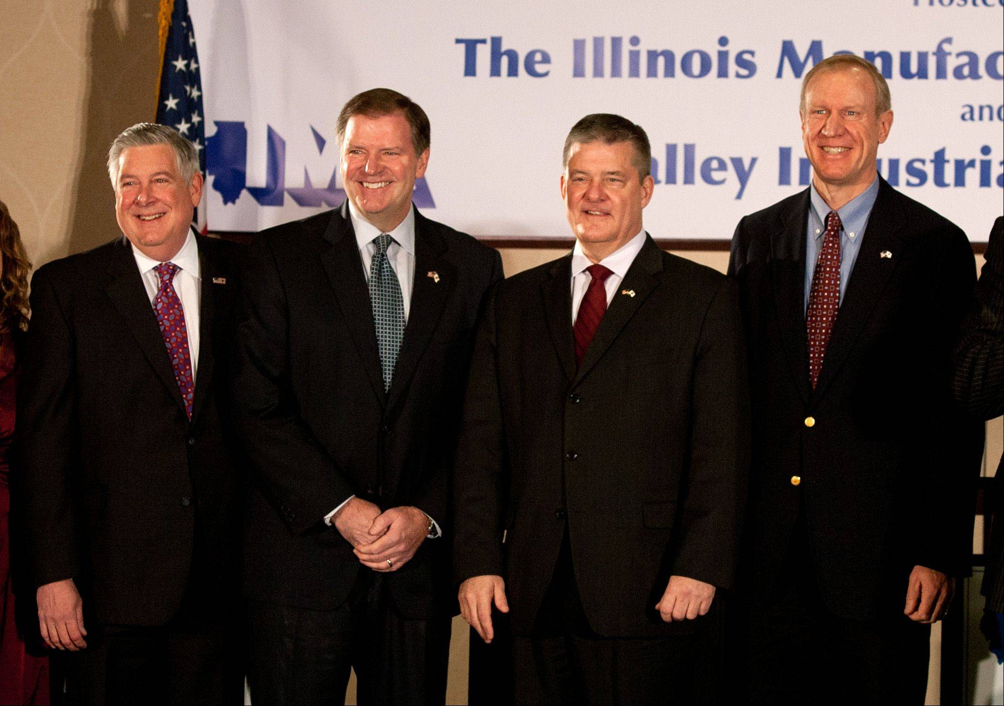 State Sen. Kirk Dillard, state Sen. Bill Brady, state Treasurer Dan Rutherford and businessman Bruce Rauner line up at a debate for the GOP candidates for governor in Naperville.