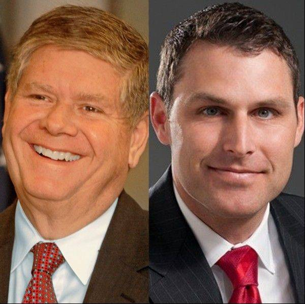 Republicans Jim Oberweis, left, and Doug Truax face each other in the 2014 primary election for U.S. Senate in Illinois.
