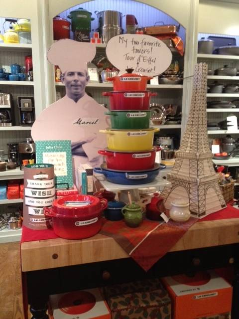 "Marcel's 2013 winning display featured a replica of the Eiffel Tower, a ""tower"" of Le Creuset ovens, and a photo of French chef Marcel Foucré, inspiration for the store's name."
