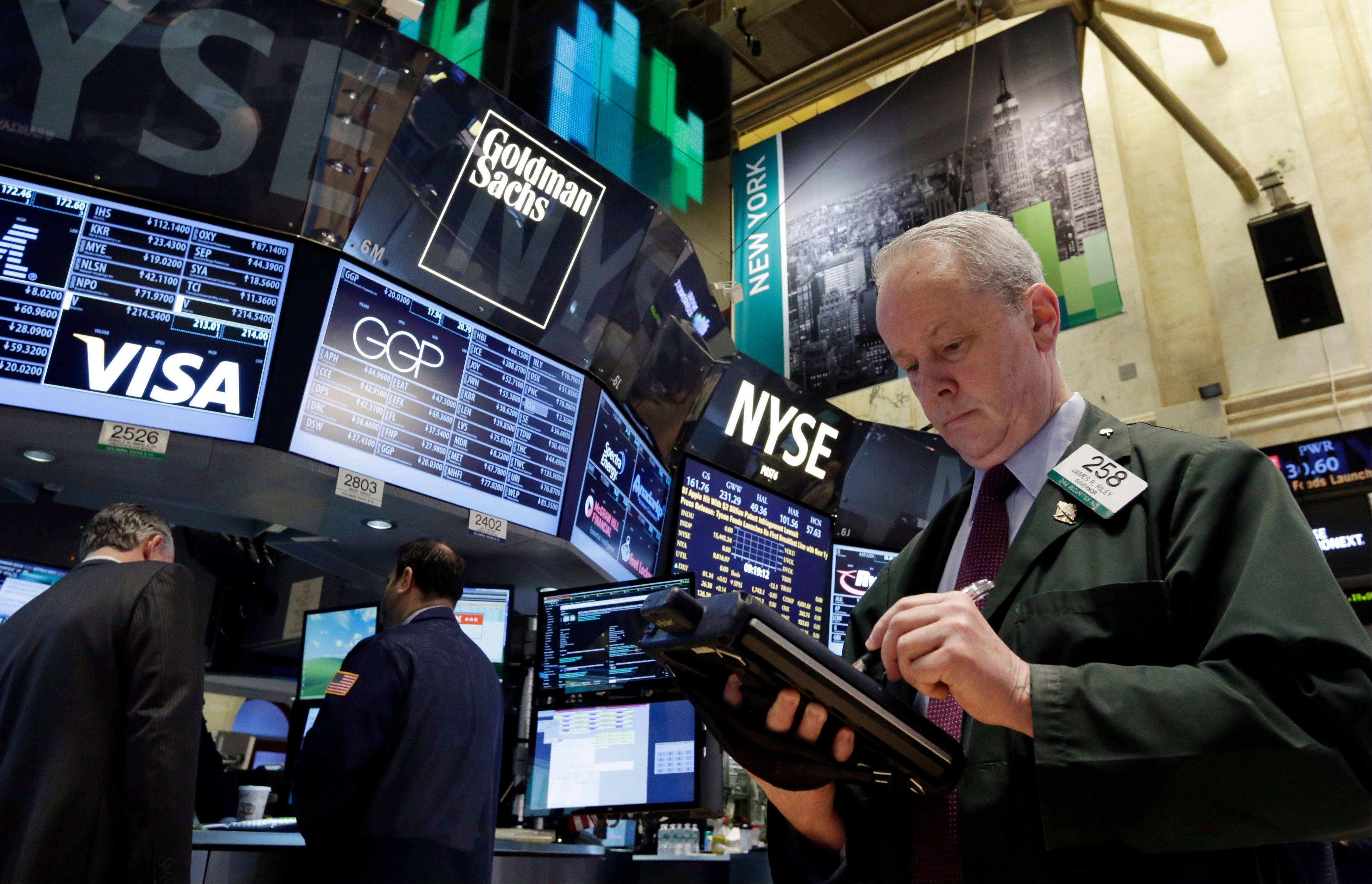 U.S. stocks fell Wednesday, sending the Standard & Poor�s 500 Index to its third loss in four days, as a private report showing companies added fewer jobs than forecast overshadowed acceleration in service industries.