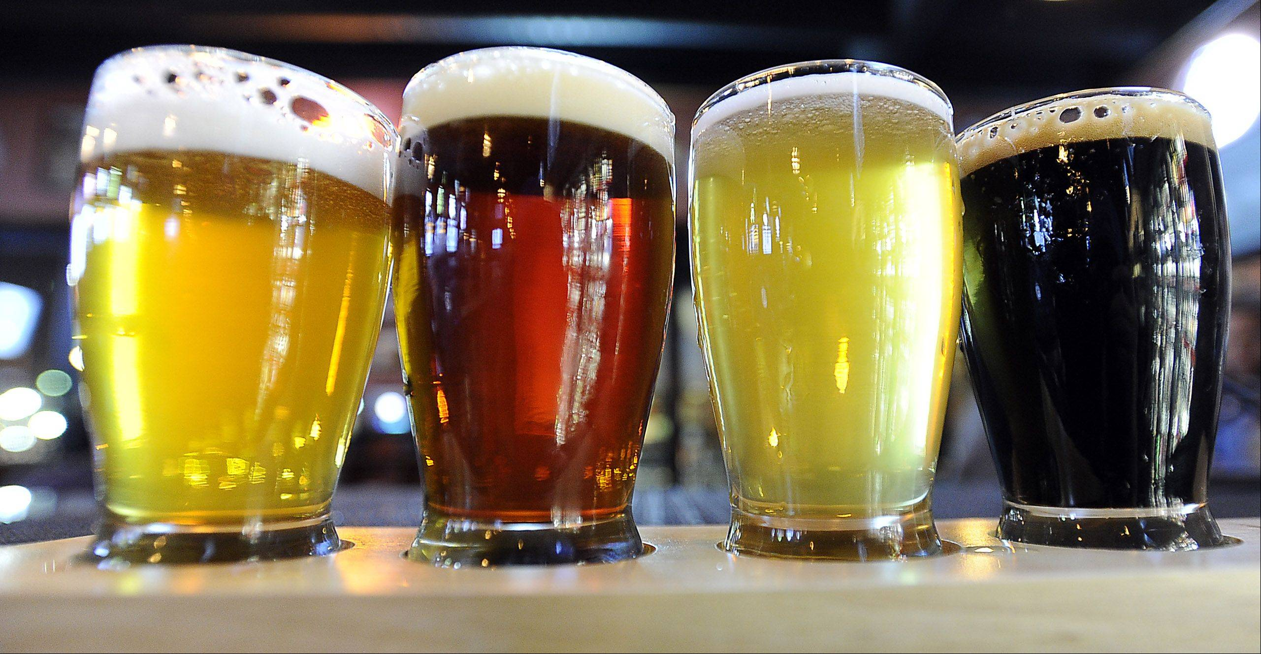 The Beer Market in Schaumburg's beer paddle allows a bit of sampling.